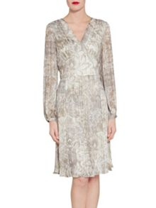 Gina Bacconi Baroque Metallic Stripe Chiffon Dress