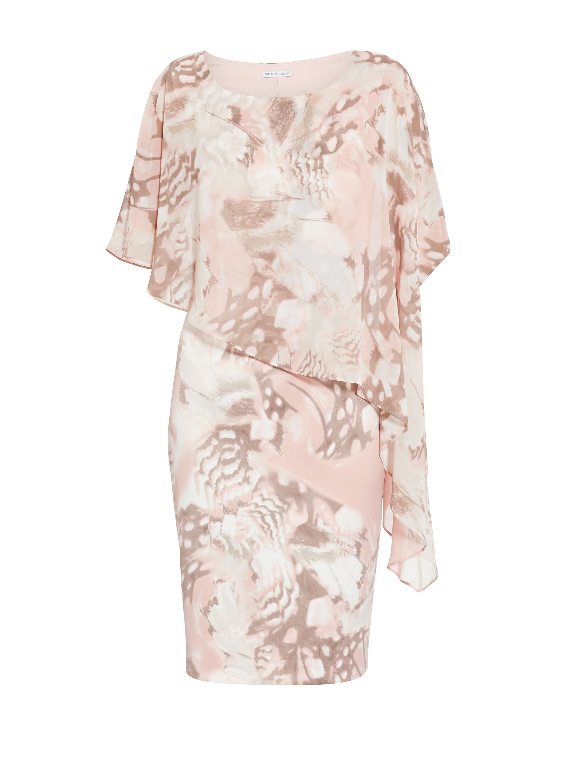 Gina Bacconi Satin Print Dress And Chiffon Cape, White