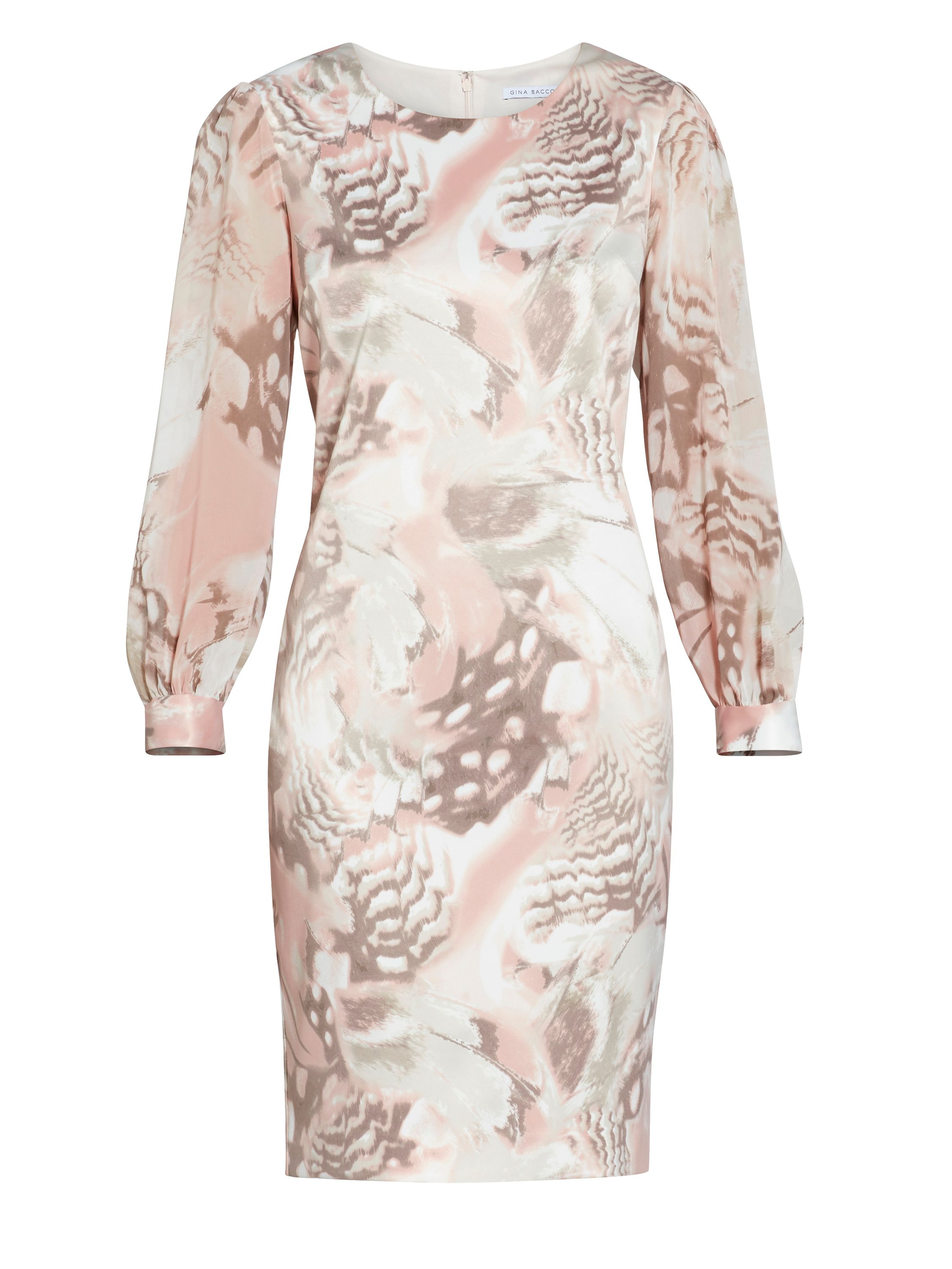 Gina Bacconi Taupe blush abstract print dress, White