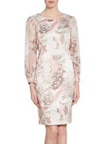 Gina Bacconi Taupe blush abstract print dress