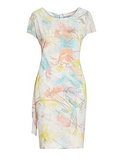 Watercolour floral print dress