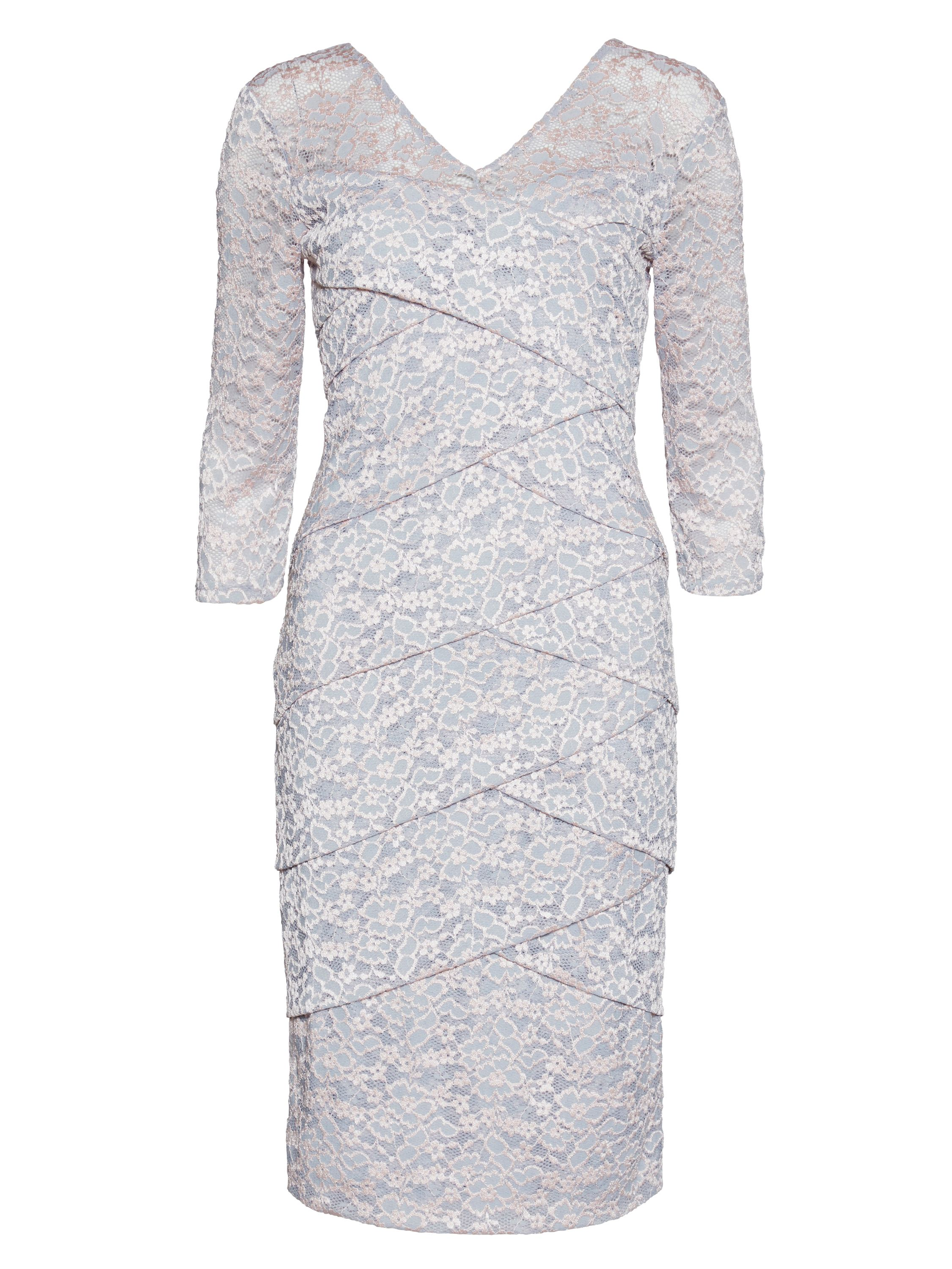 Gina Bacconi Grey pink two tone stretch lace dress, Pink