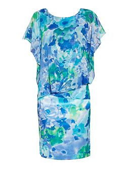 Blue green print satin and chiffon dress