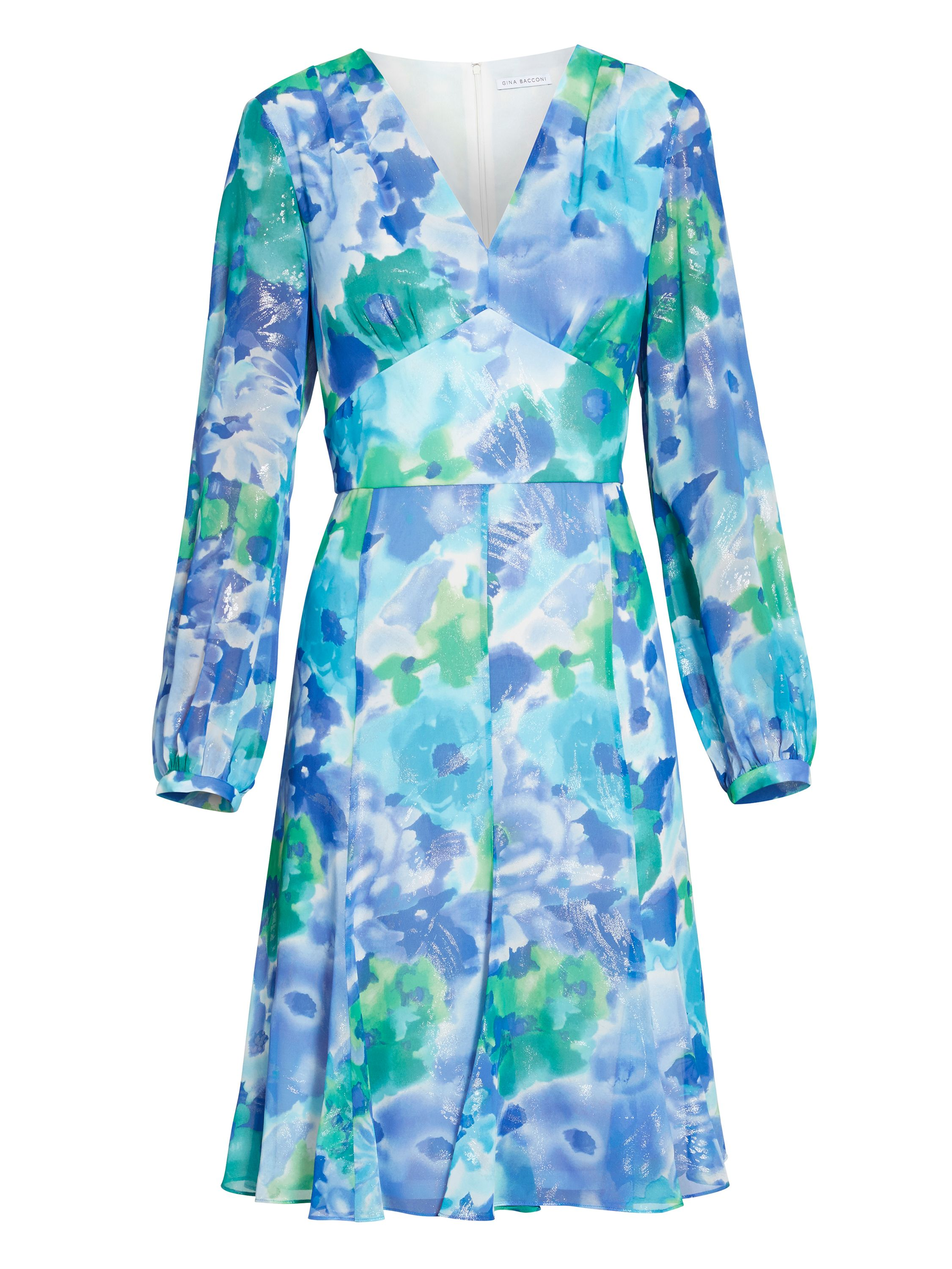 Gina Bacconi Blue green abstract print dress, Blue