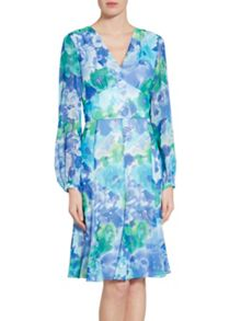 Gina Bacconi Blue green abstract print dress