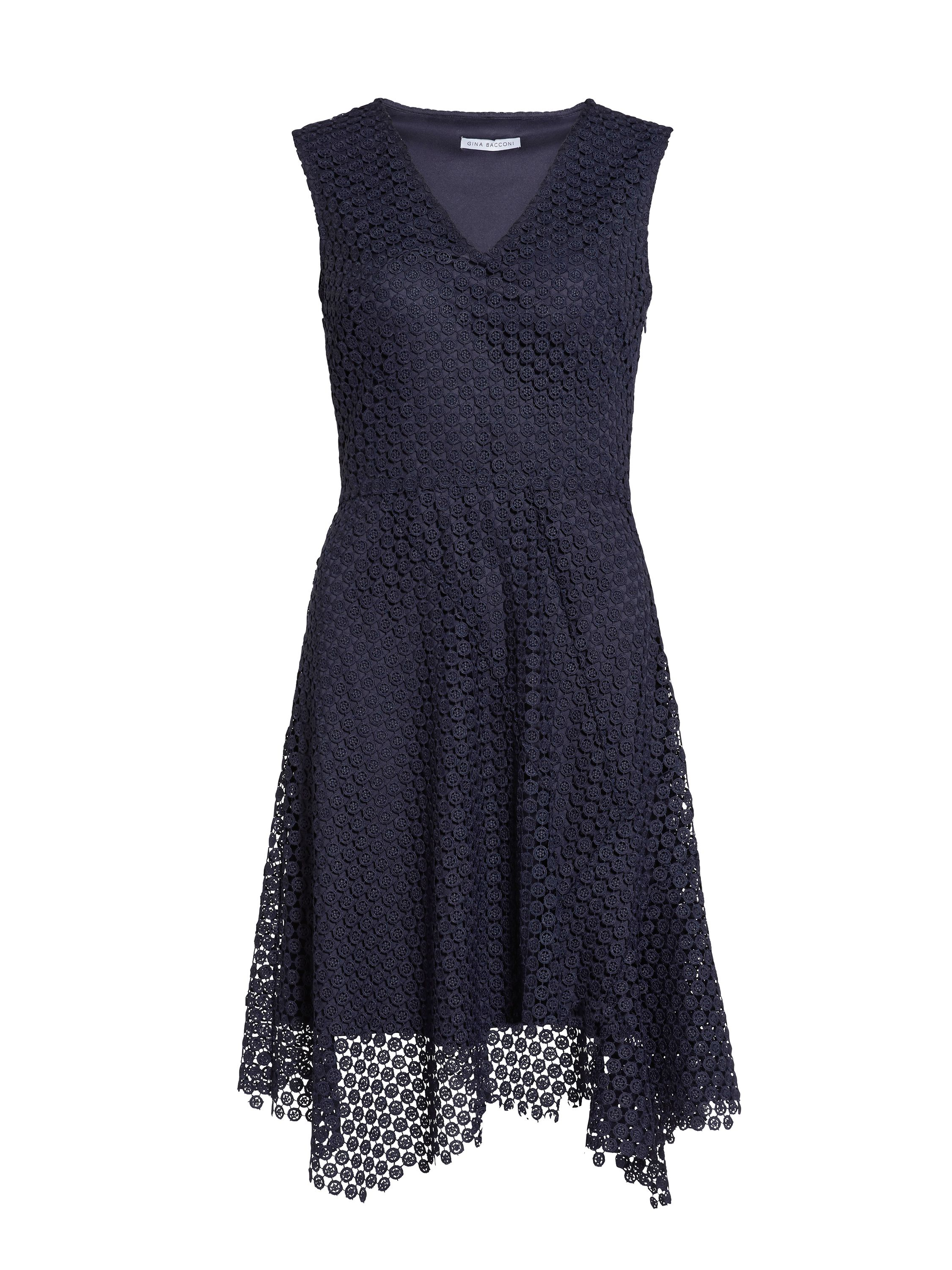 Gina Bacconi Doily chemical lace panel dress, Blue