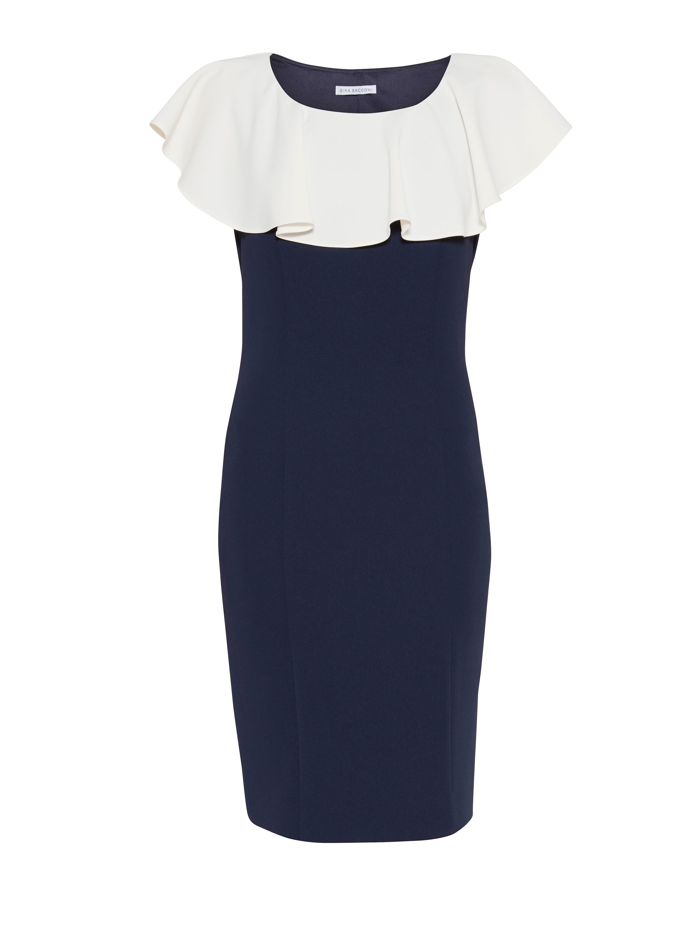 Gina Bacconi Moss crepe dress with frill collar, Blue