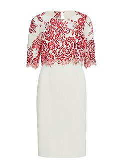 Crepe dress with embroidered net bodice