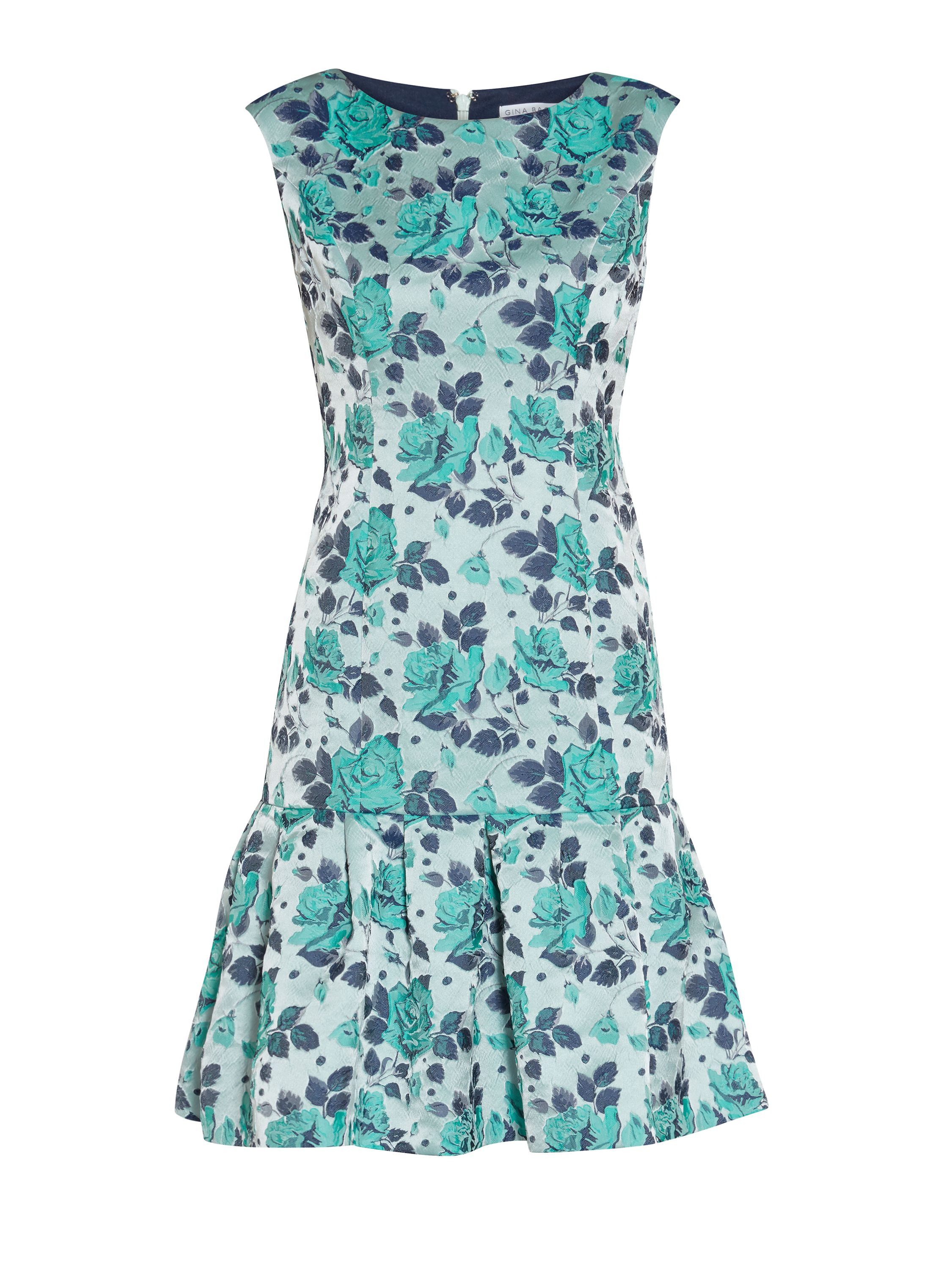 Gina Bacconi Navy green floral jacquard dress, Green