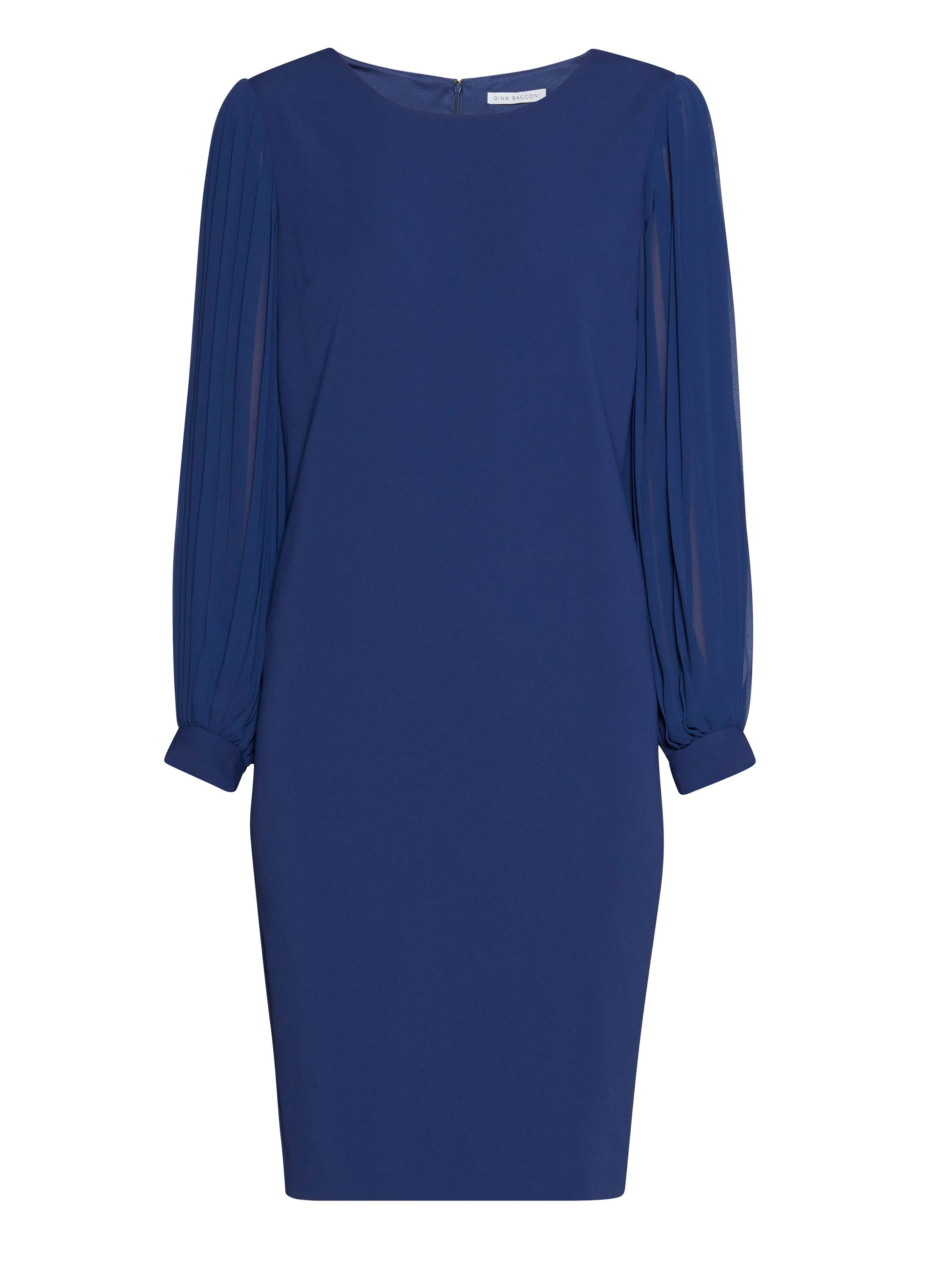 Gina Bacconi Crepe dress with pleated chiffon sleeve, Blue