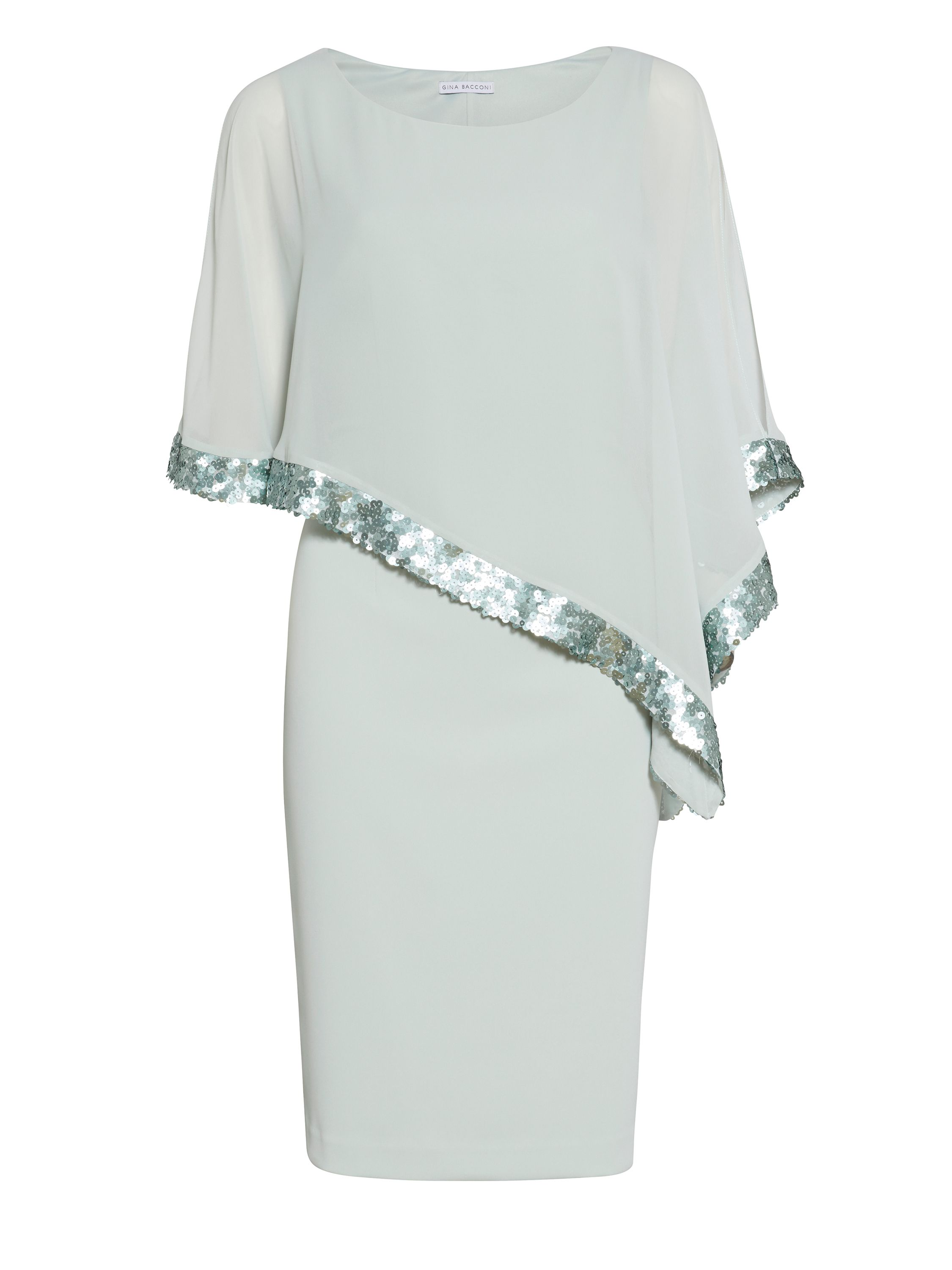 Gina Bacconi Crepe and chiffon dress with sequin trim, Green