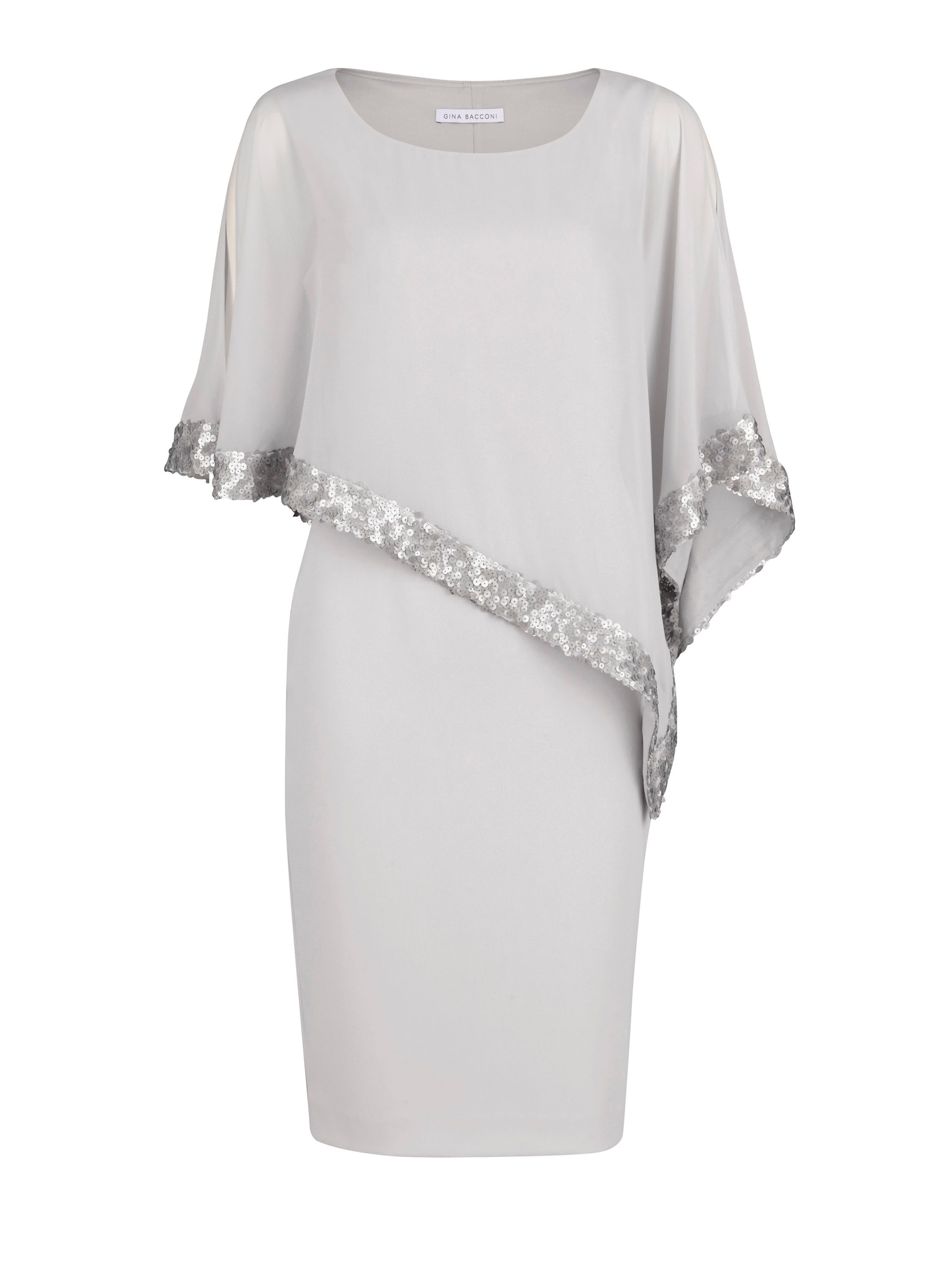 Gina Bacconi Crepe and chiffon dress with sequin trim, Grey