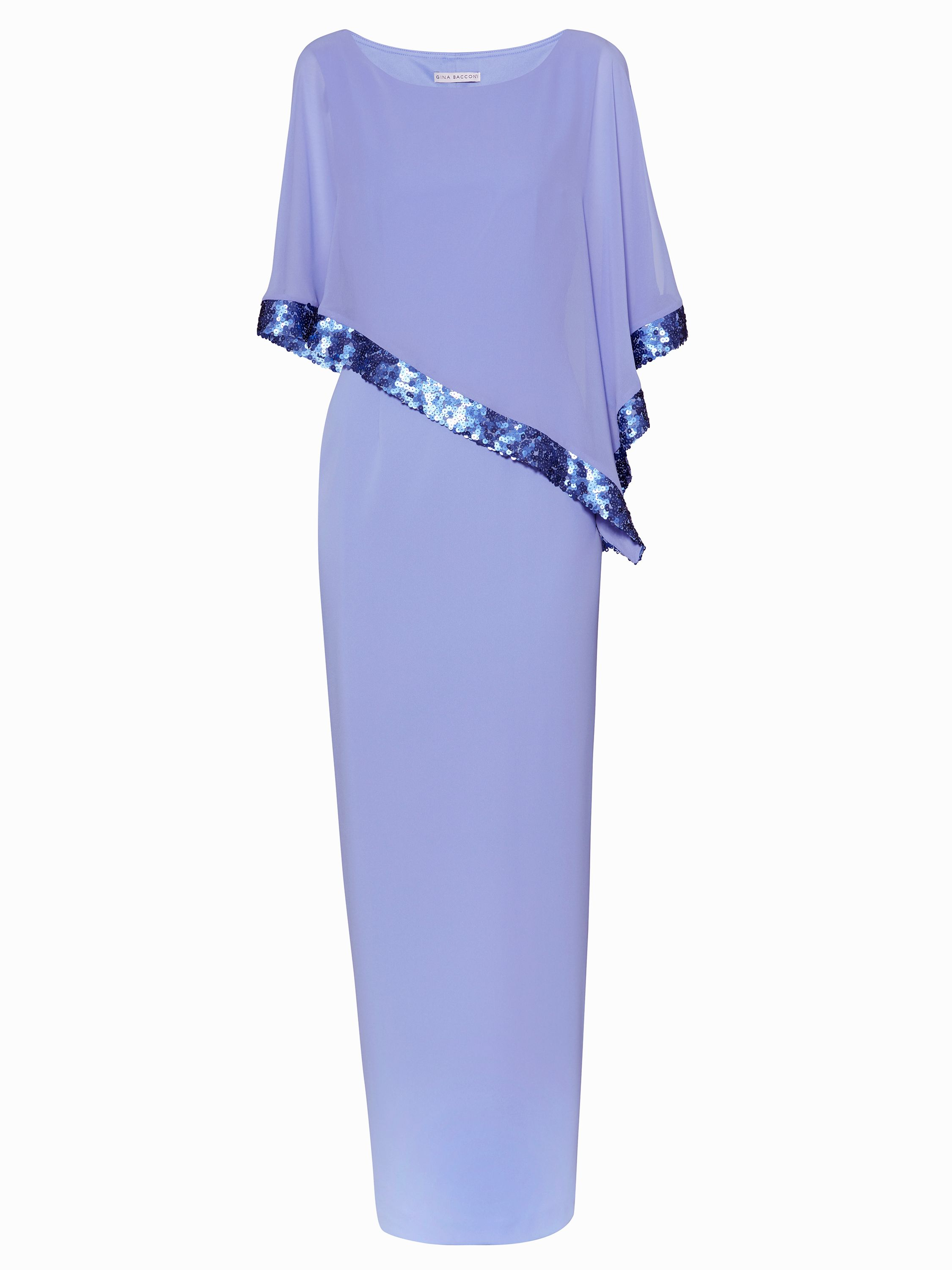 Gina Bacconi Crepe and Chiffon Maxi Dress with Sequin, Purple