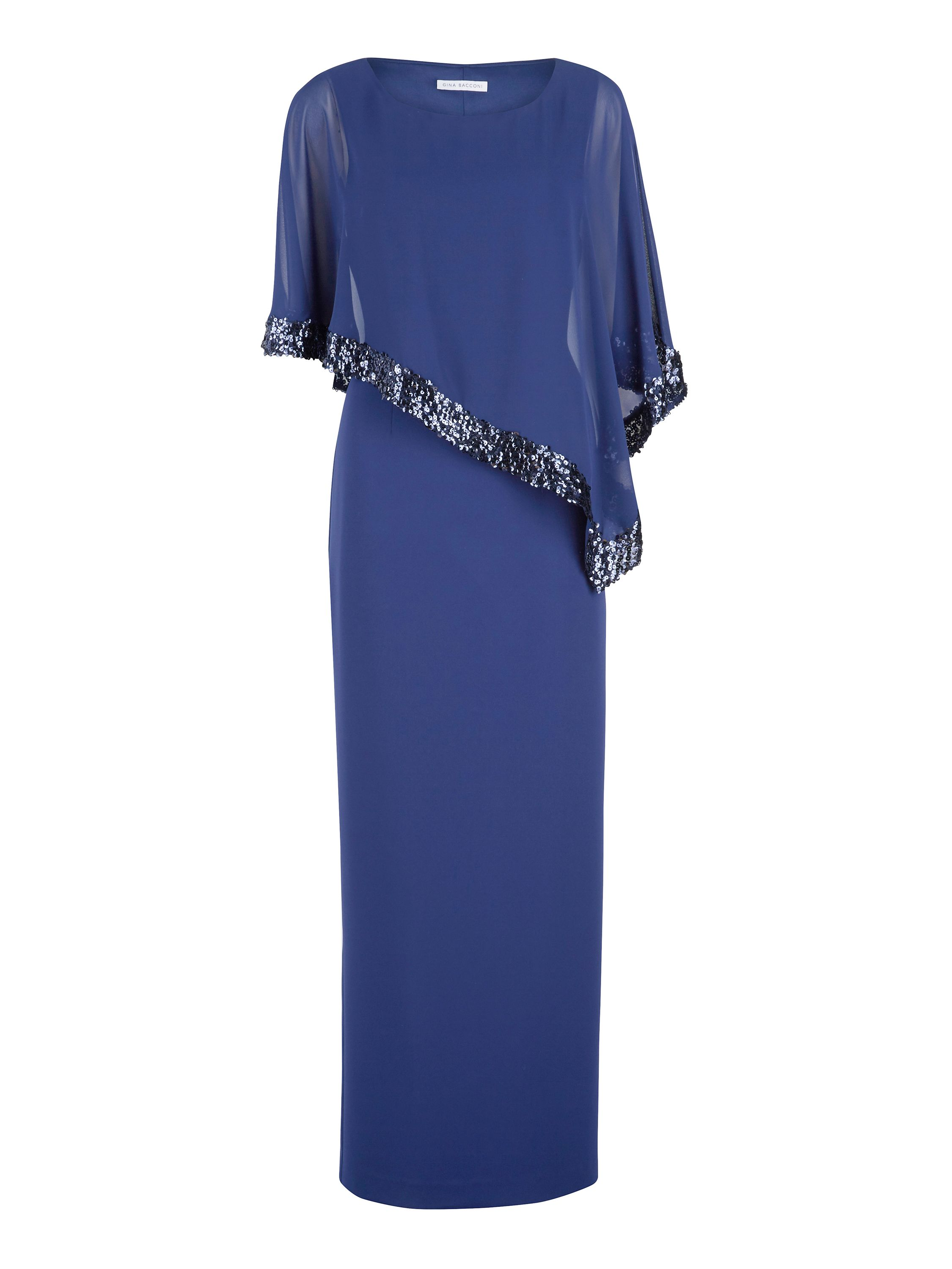 Gina Bacconi Crepe and Chiffon Maxi Dress with Sequin, Blue