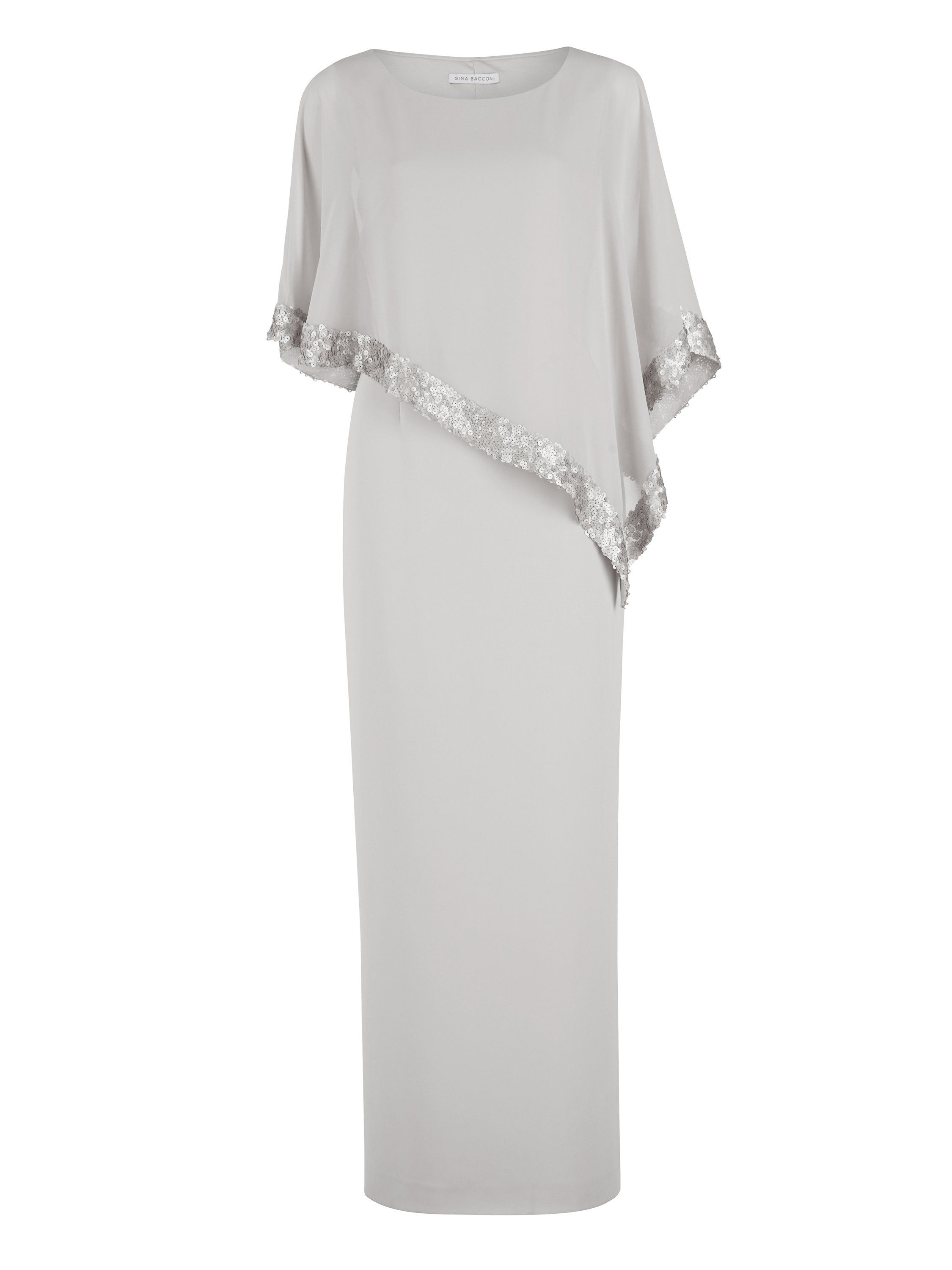 Gina Bacconi Crepe and Chiffon Maxi Dress with Sequin, Silver