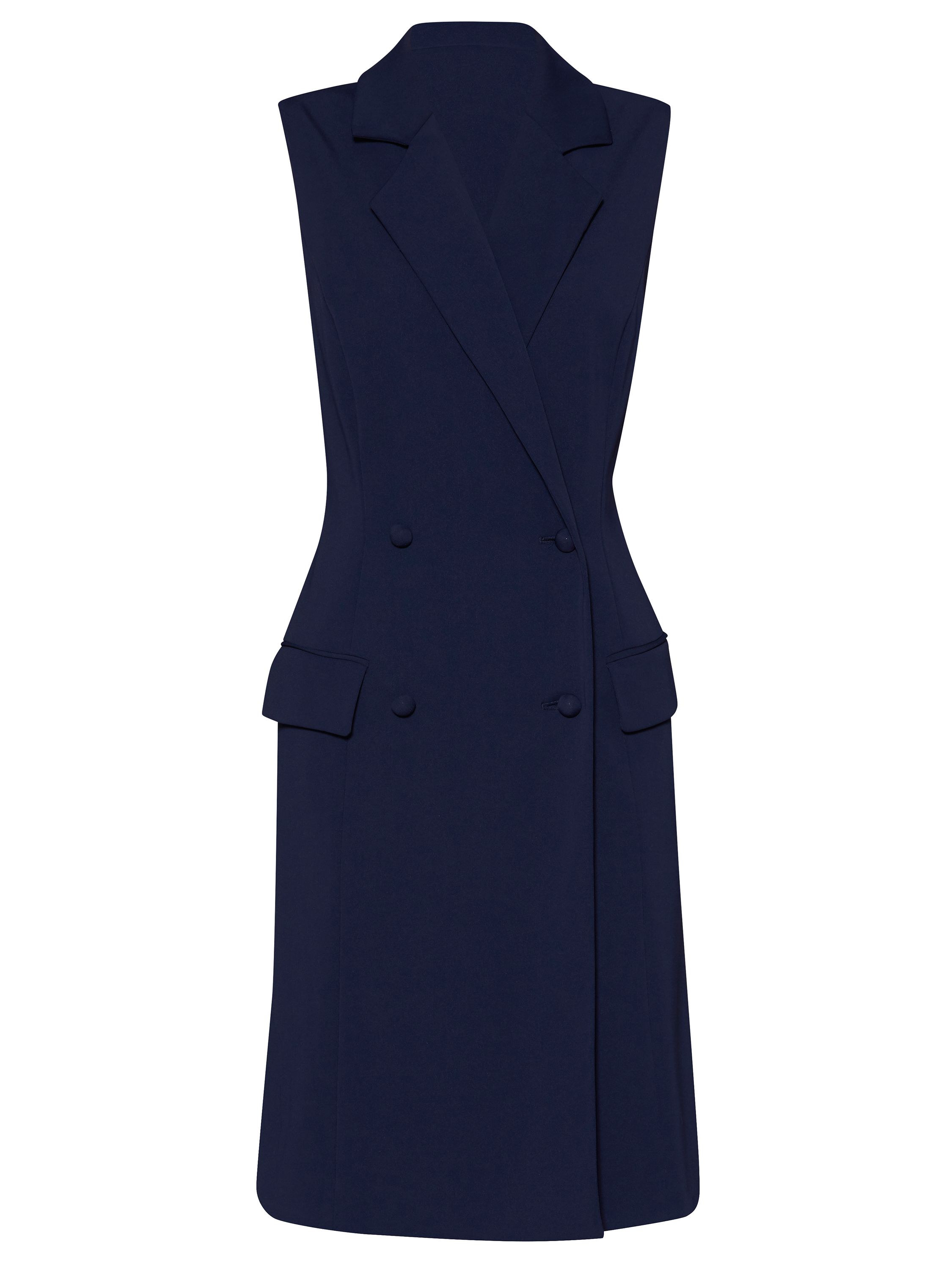 Gina Bacconi Crepe double breasted coat dress, Blue
