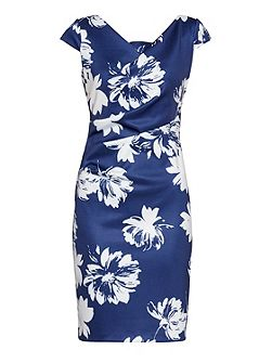 Brushed Flower Scuba Dress