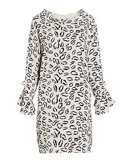 Abstract animal stretch georgette dress