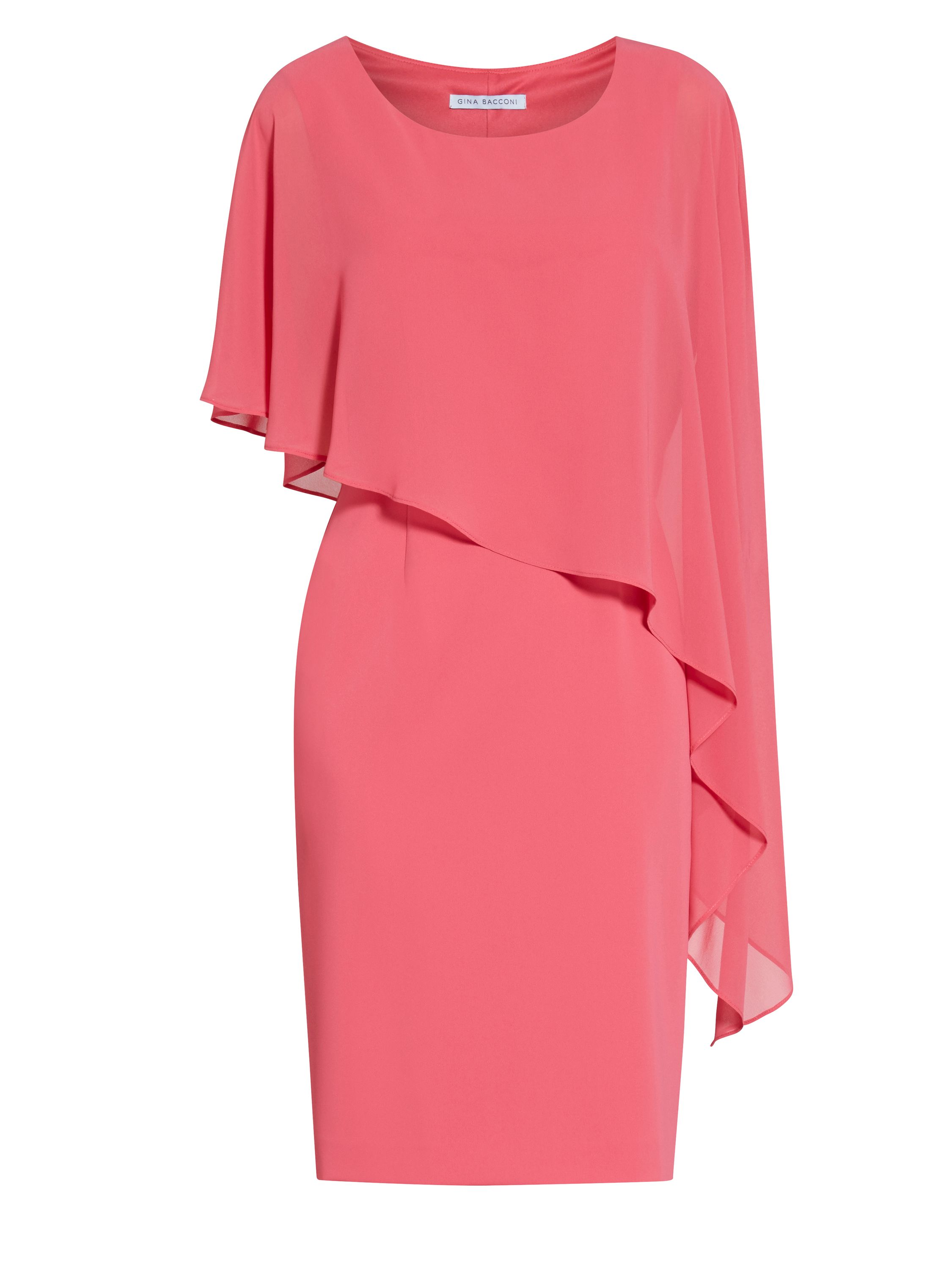 Gina Bacconi Moss crepe dress and chiffon cape, Coral
