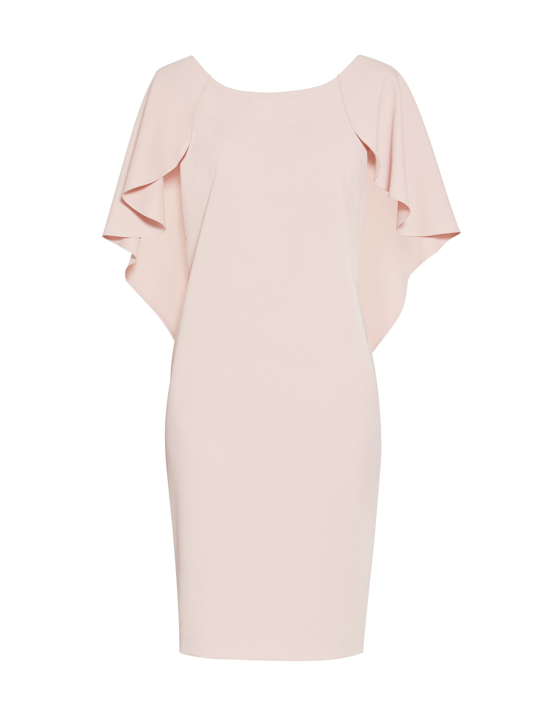 Gina Bacconi Moss crepe dress with cape detail, Pastel Pink