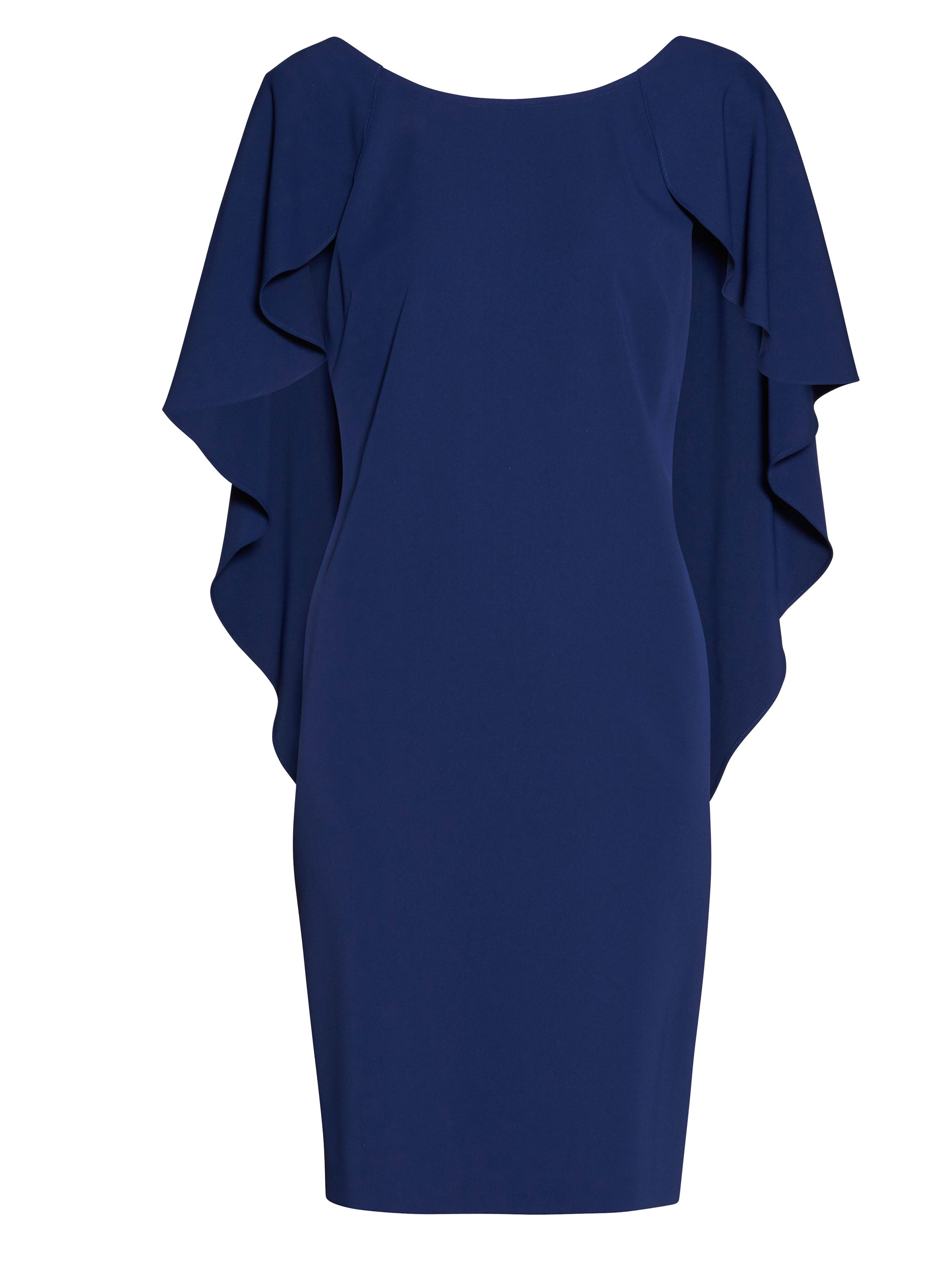 Gina Bacconi Moss crepe dress with cape detail, Blue