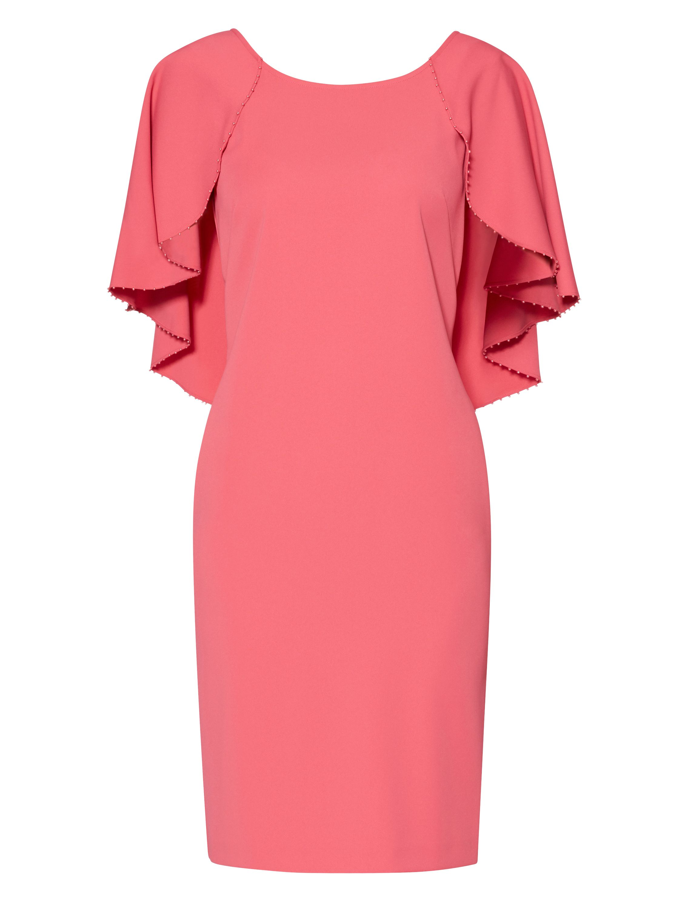 Gina Bacconi Moss Crepe Dress with Beaded Edge Cape, Coral
