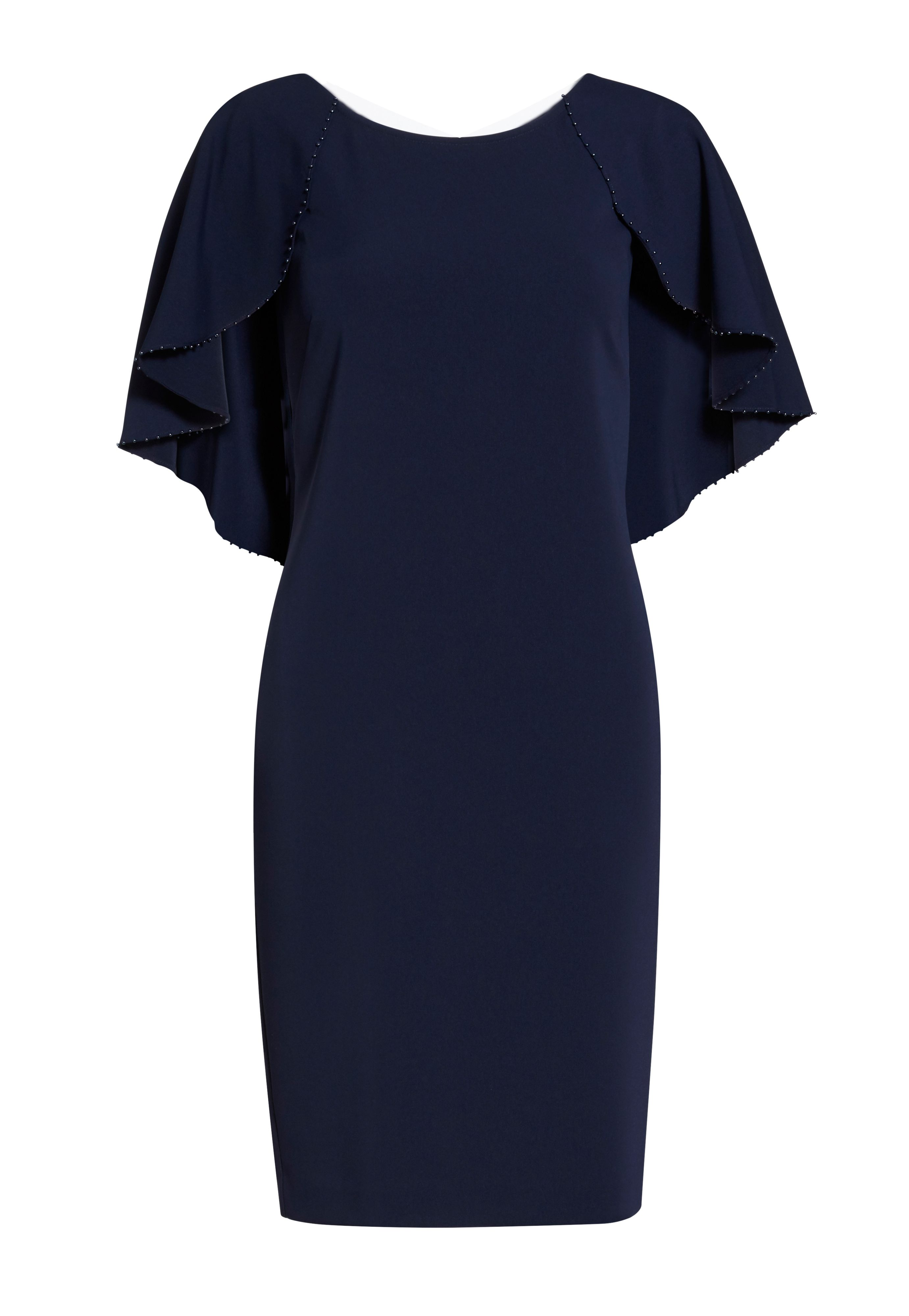 Gina Bacconi Moss Crepe Dress with Beaded Edge Cape, Blue