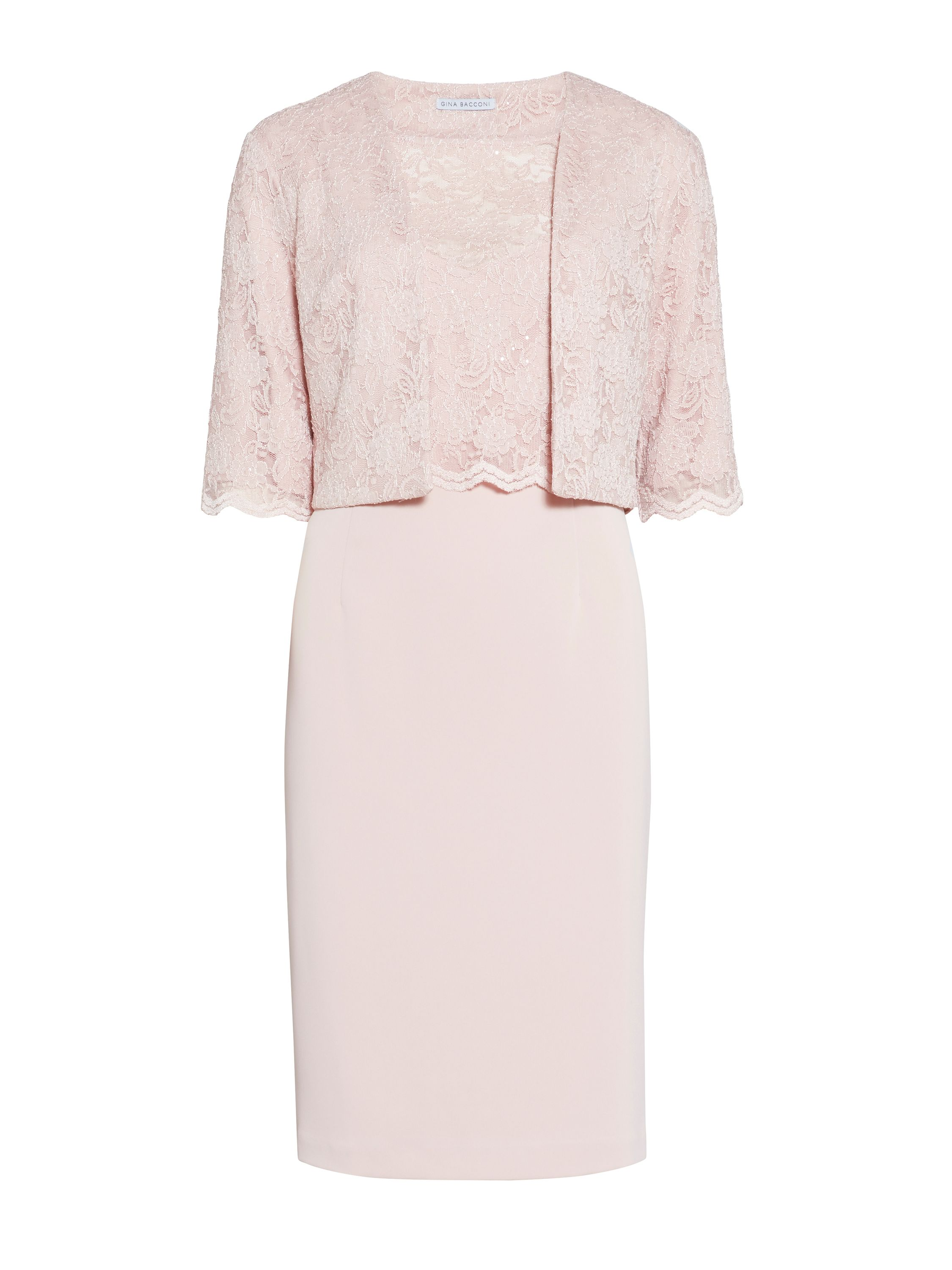 Gina Bacconi Crepe and stretch lace dress and jacket, Pink