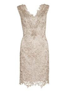 Gina Bacconi Lace dress with beaded neck and scarf