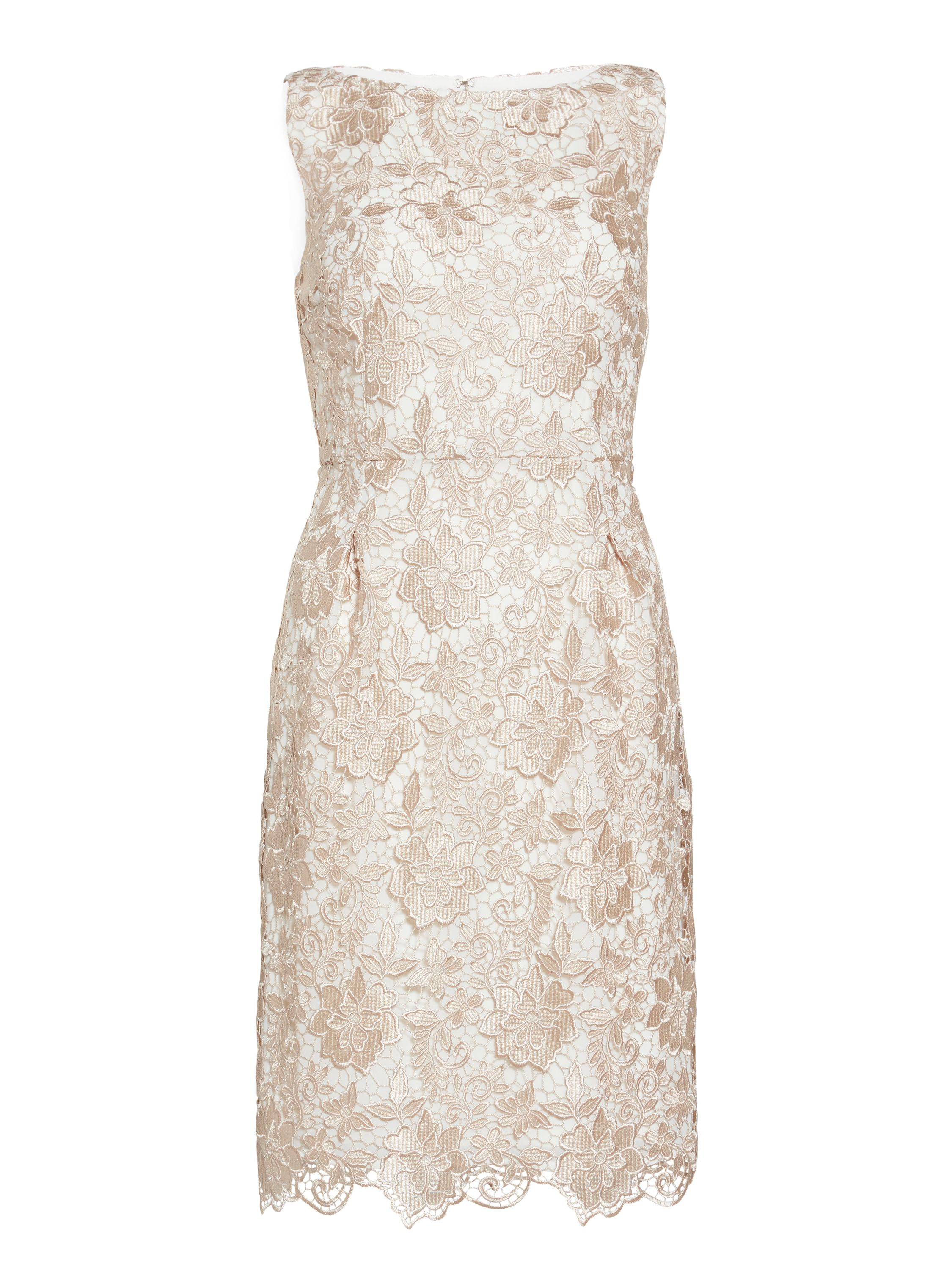 Gina Bacconi Almond guipure lace dress, White