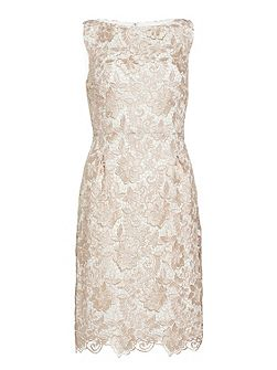 Almond guipure lace dress