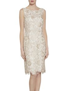 Gina Bacconi Almond guipure lace dress
