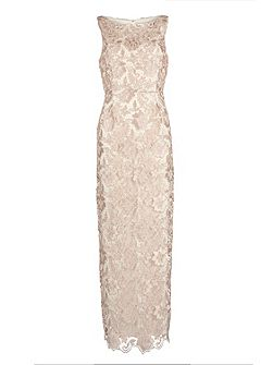 Almond guipure lace maxi dress