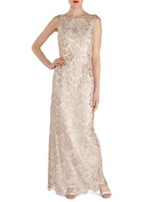 Gina Bacconi Almond guipure lace maxi dress