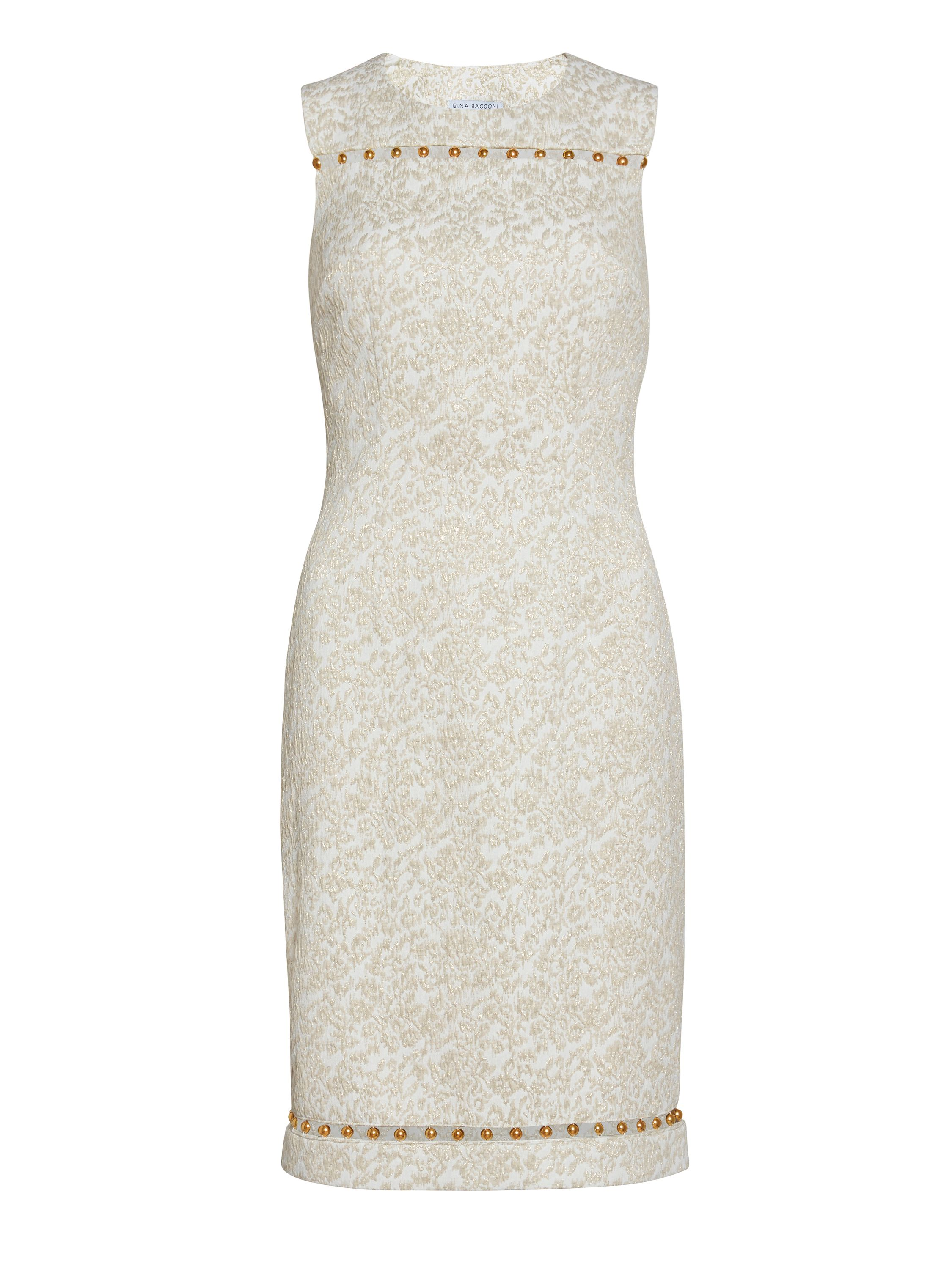 Gina Bacconi Cream gold jacquard dress with trim, Gold