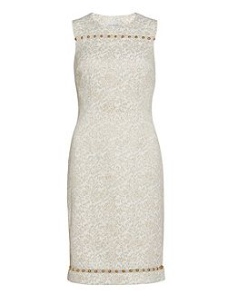 Cream gold jacquard dress with trim