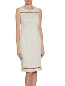 Gina Bacconi Cream gold jacquard dress with trim