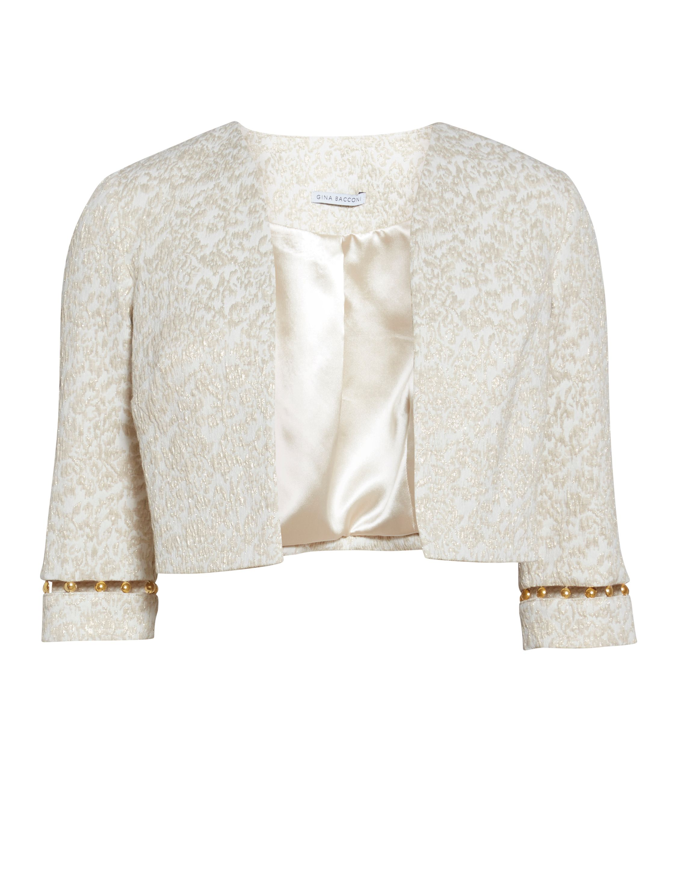 Gina Bacconi Cream gold jacquard jacket with trim, Gold
