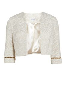 Gina Bacconi Cream gold jacquard jacket with trim