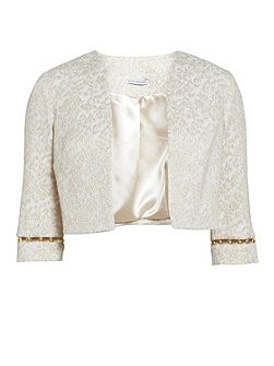 Cream gold jacquard jacket with trim
