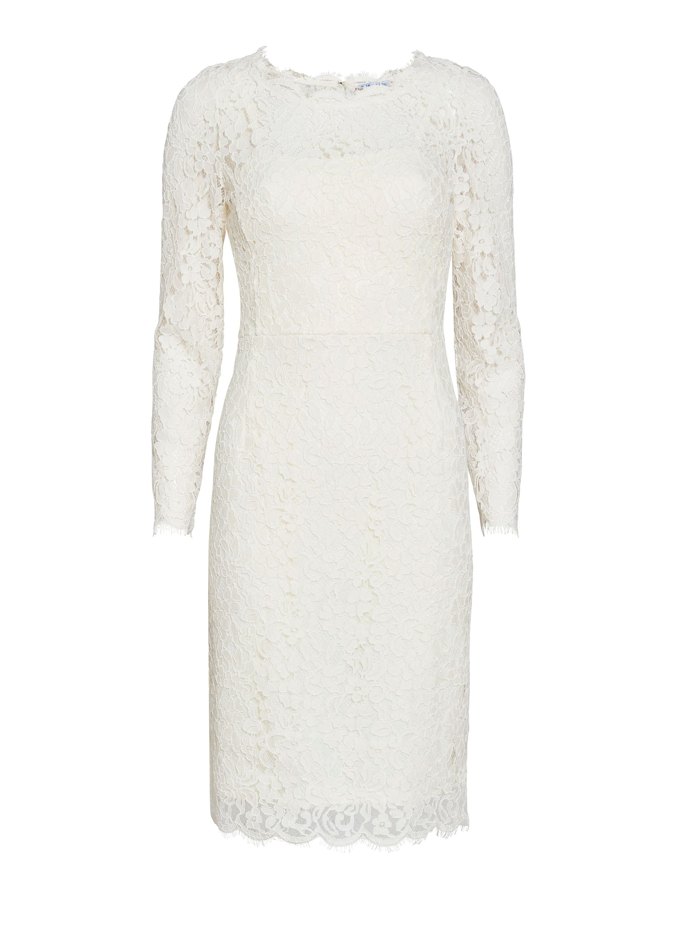 Gina Bacconi Lace dress with jewel flower buttons, White