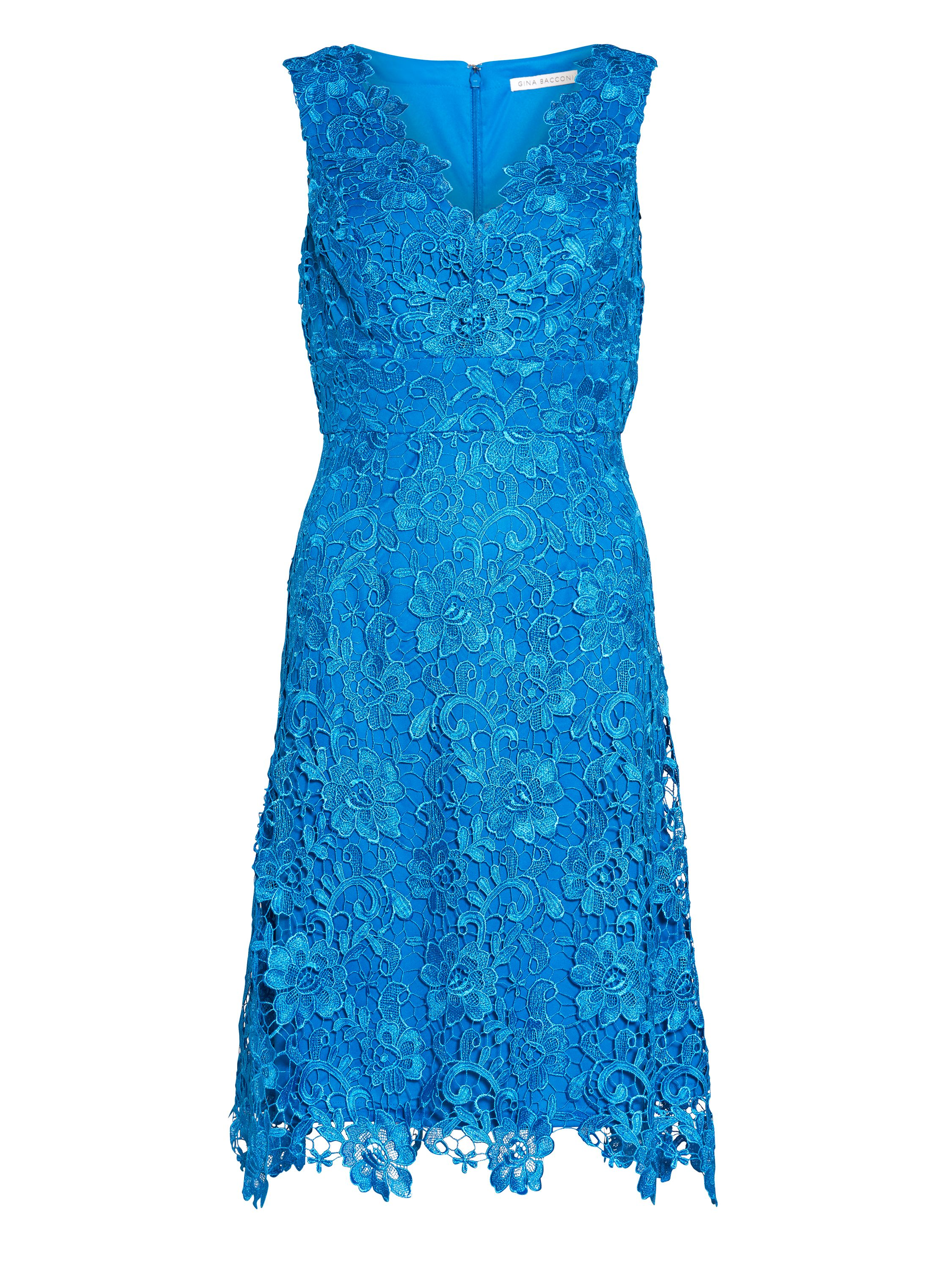 Gina Bacconi V-neck lace dress and chiffon scarf, Royal Blue