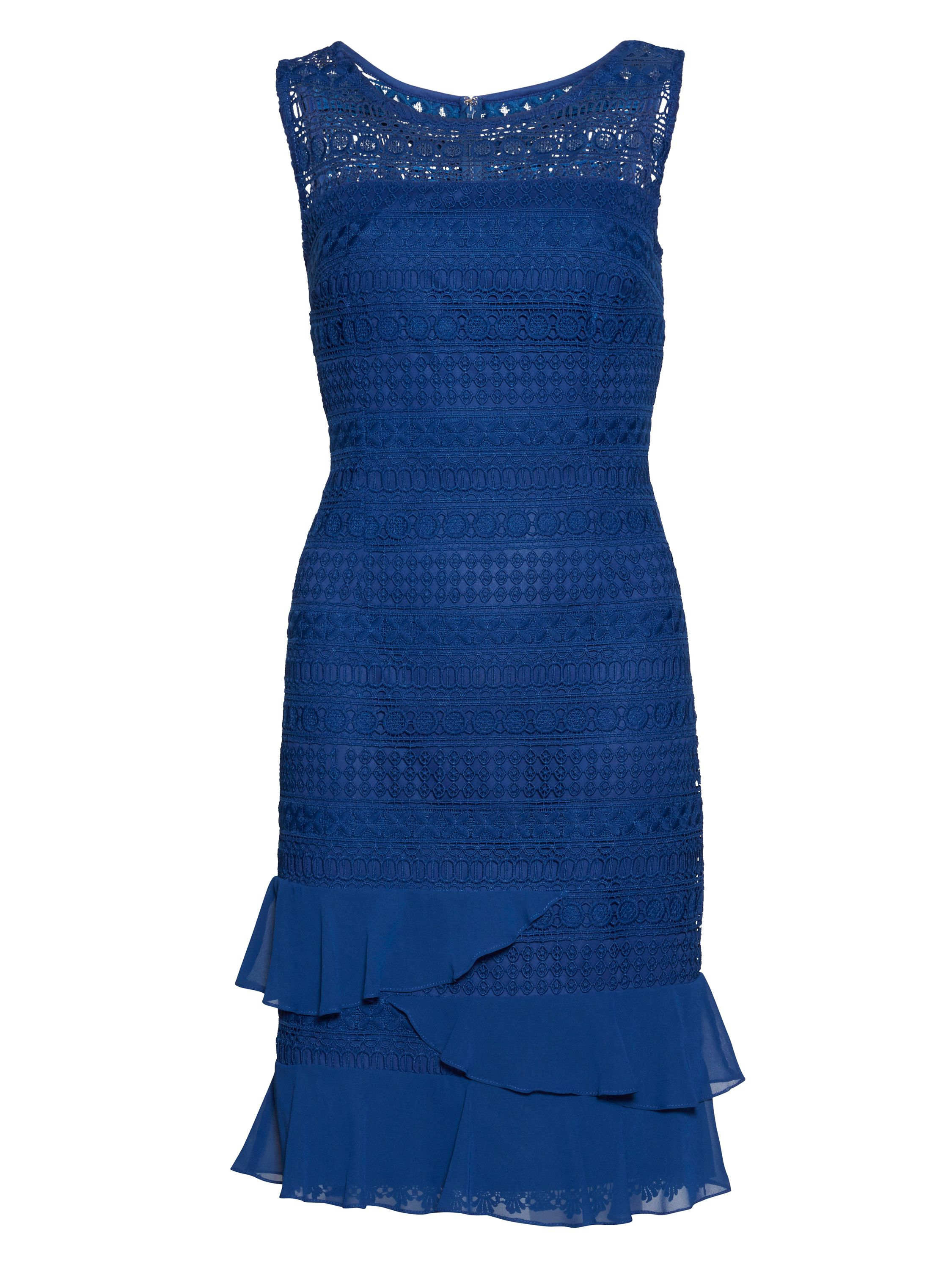 Gina Bacconi Lace dress with chiffon frills and scarf, Blue