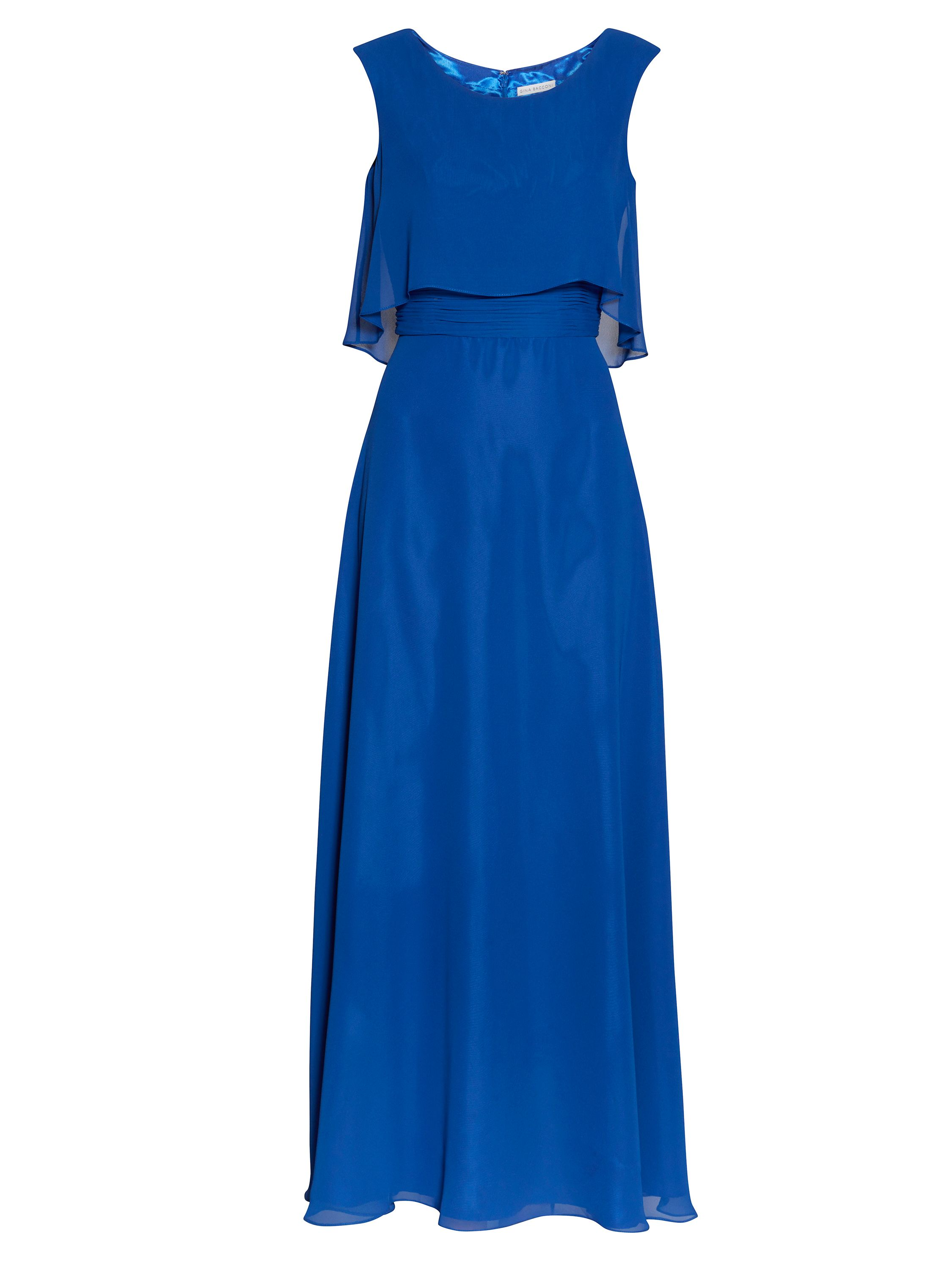 Gina Bacconi Maxi chiffon dress with pleated waist, Blue