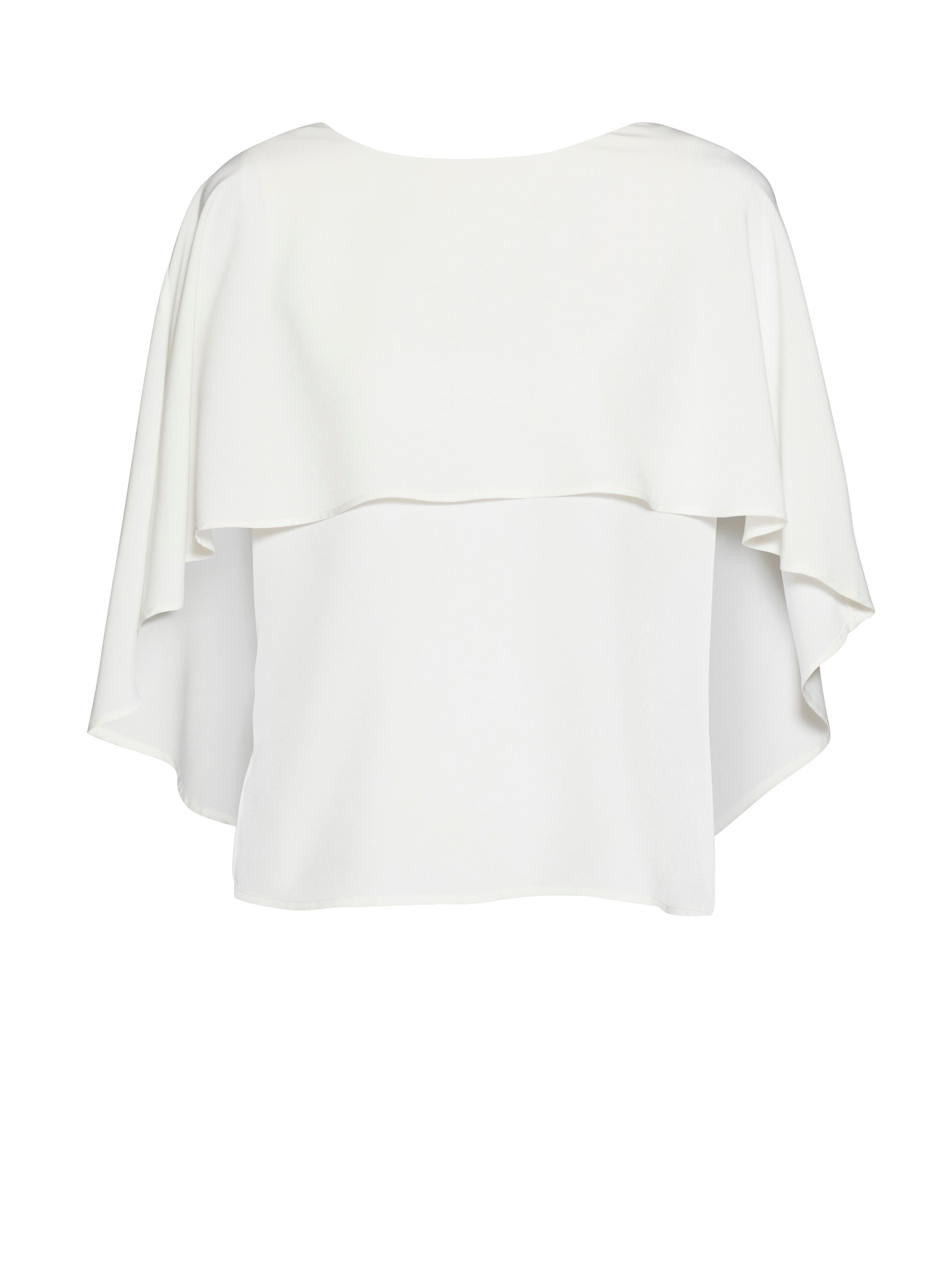 Gina Bacconi Soho crepe top with cape detail, Cream