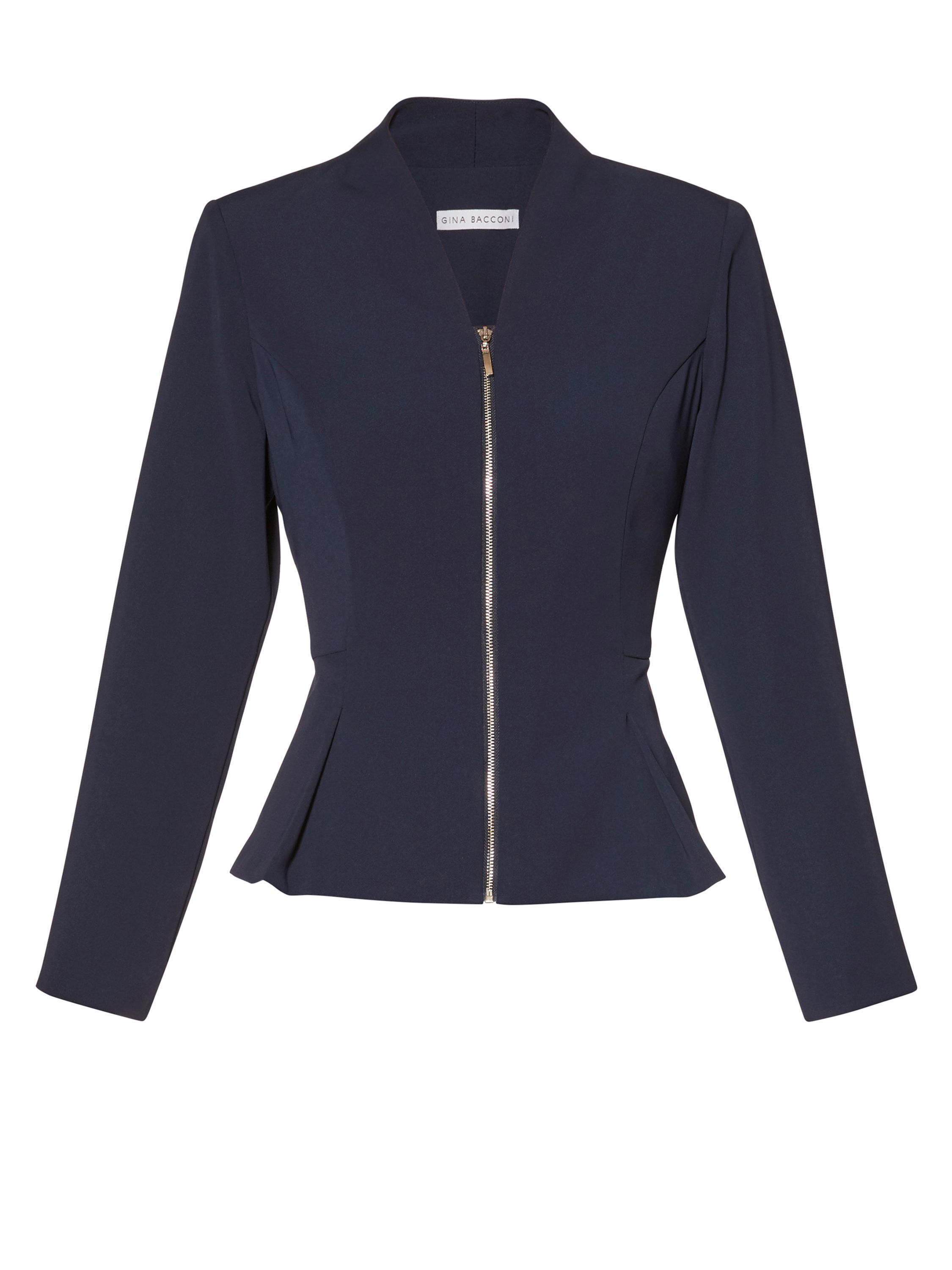 Gina Bacconi Moss crepe zip up jacket, Blue