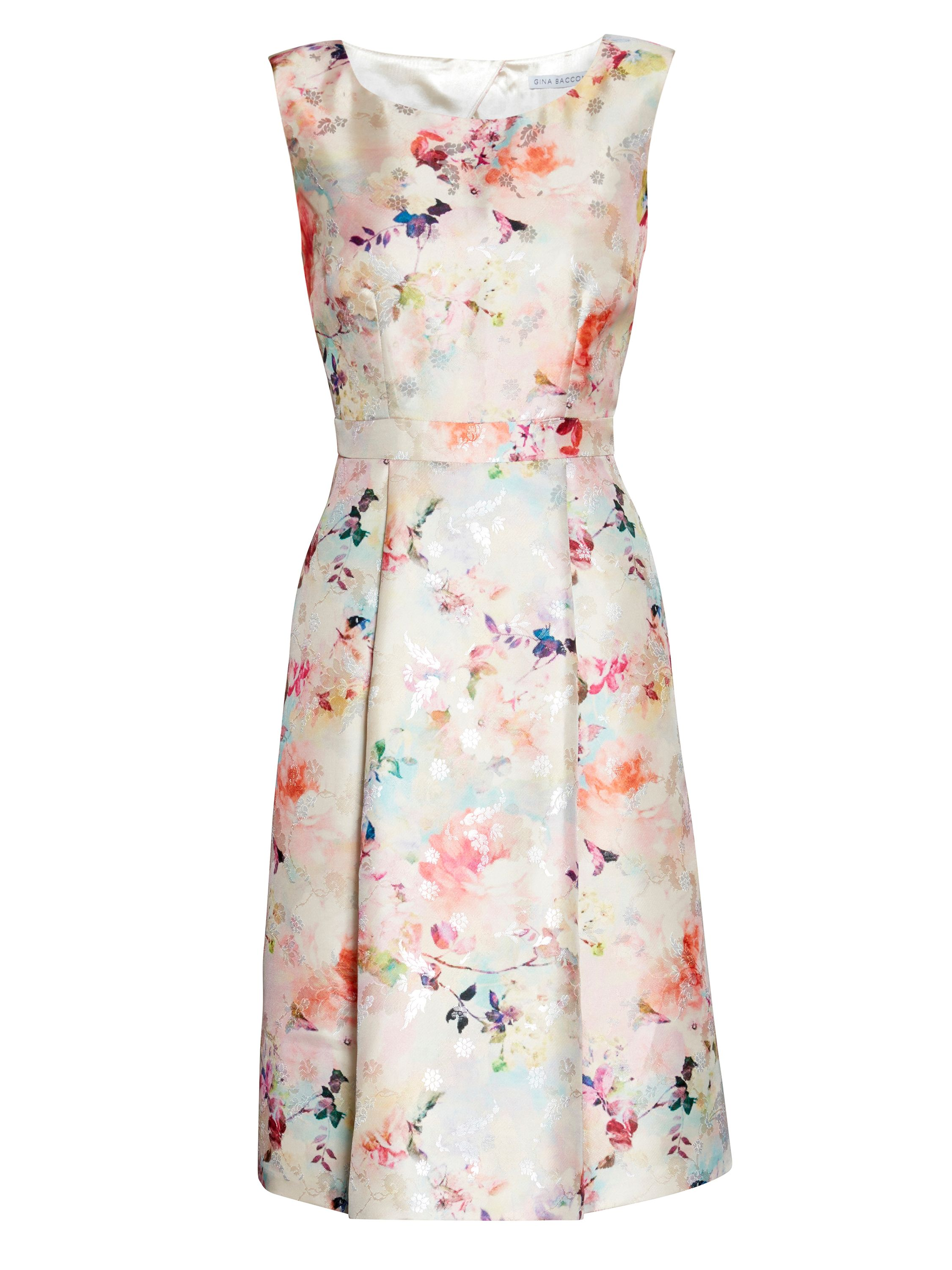 Gina Bacconi Jacquard Fit And Flare Dress, Pink