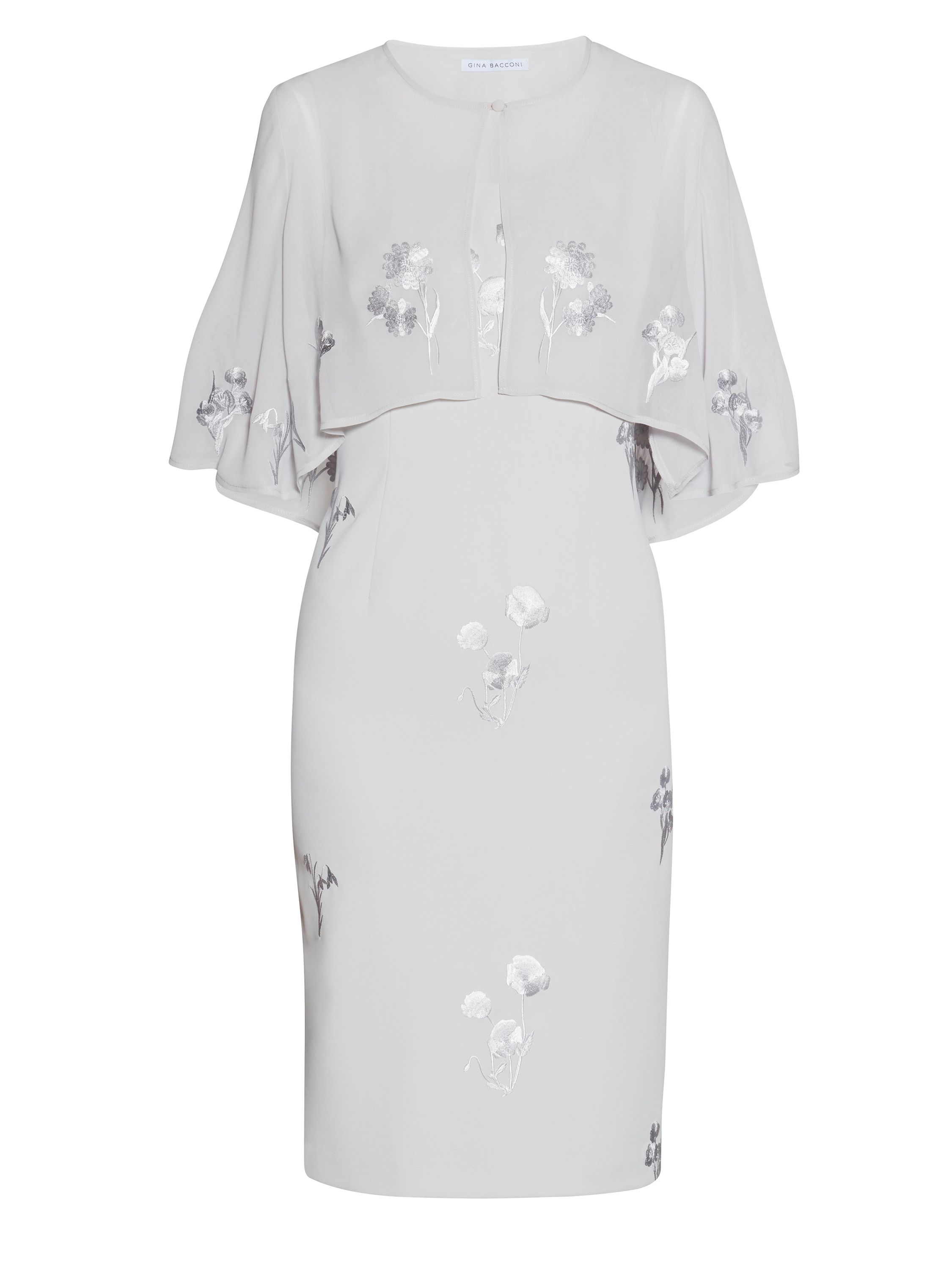Gina Bacconi Embroidered crepe dress and chiffon cape, Silver