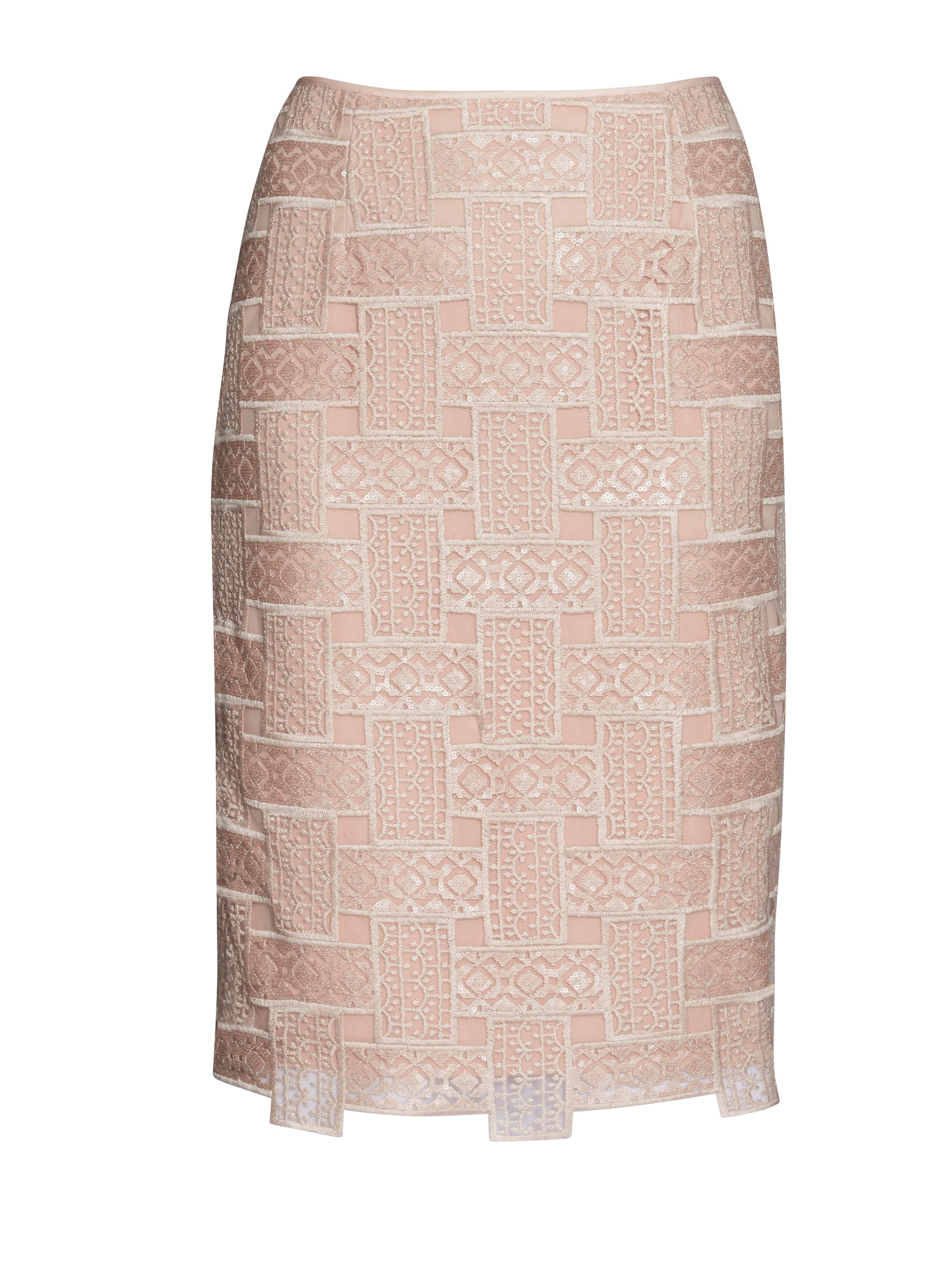 Gina Bacconi Mosaic sequin embroidery skirt, Pink