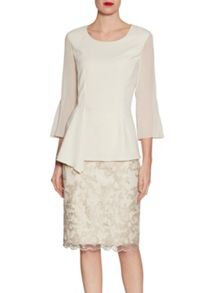 Gina Bacconi Embroidered corded scallop mesh skirt